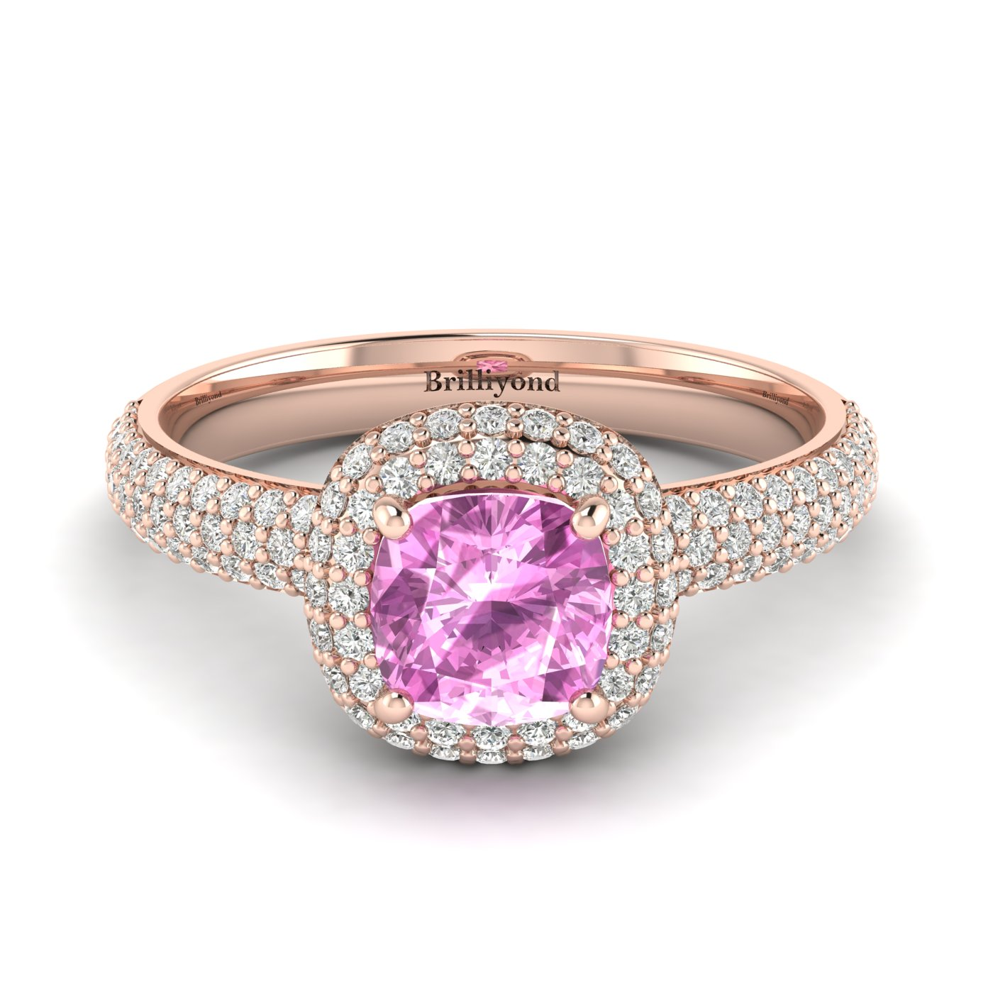 Pink Sapphire Rose Gold Cushion Cut Engagement Ring Milky Way_image1