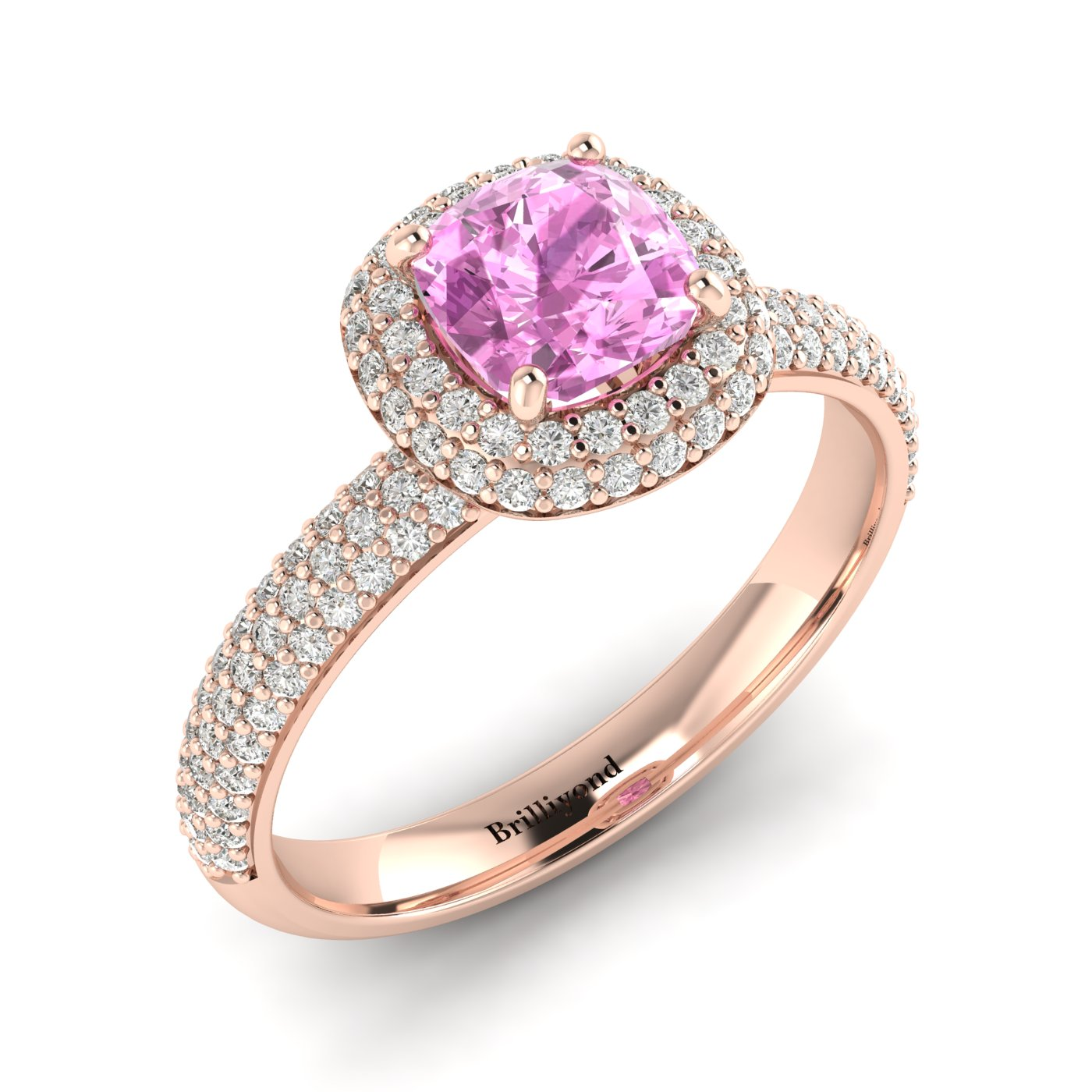 Pink Sapphire Rose Gold Cushion Cut Engagement Ring Milky Way_image2