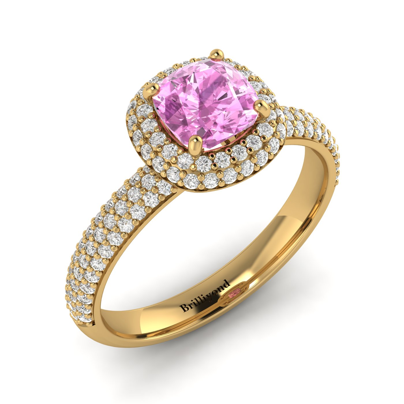 Pink Sapphire Yellow Gold Cushion Cut Engagement Ring Milky Way_image1