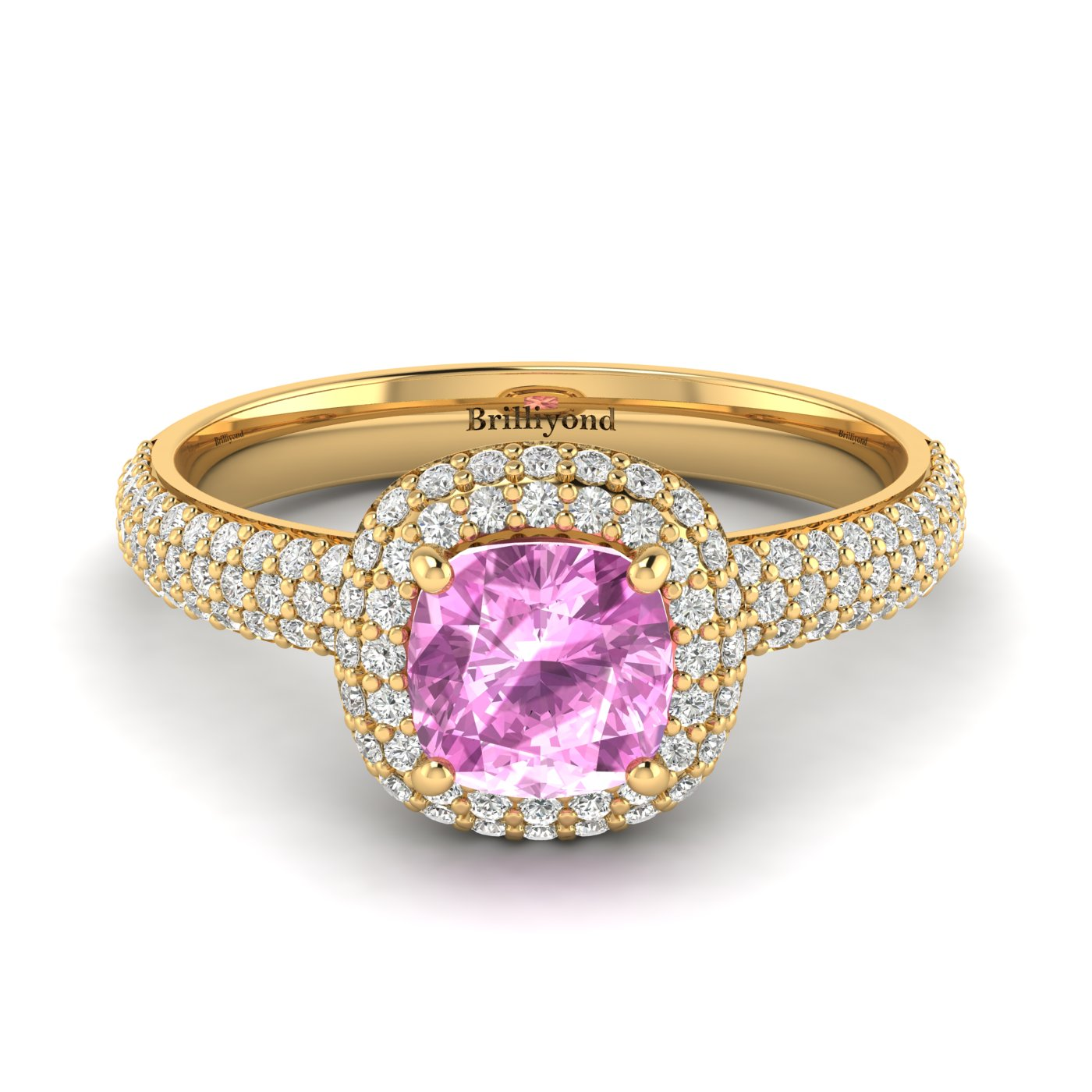 Pink Sapphire Yellow Gold Cushion Cut Engagement Ring Milky Way_image2