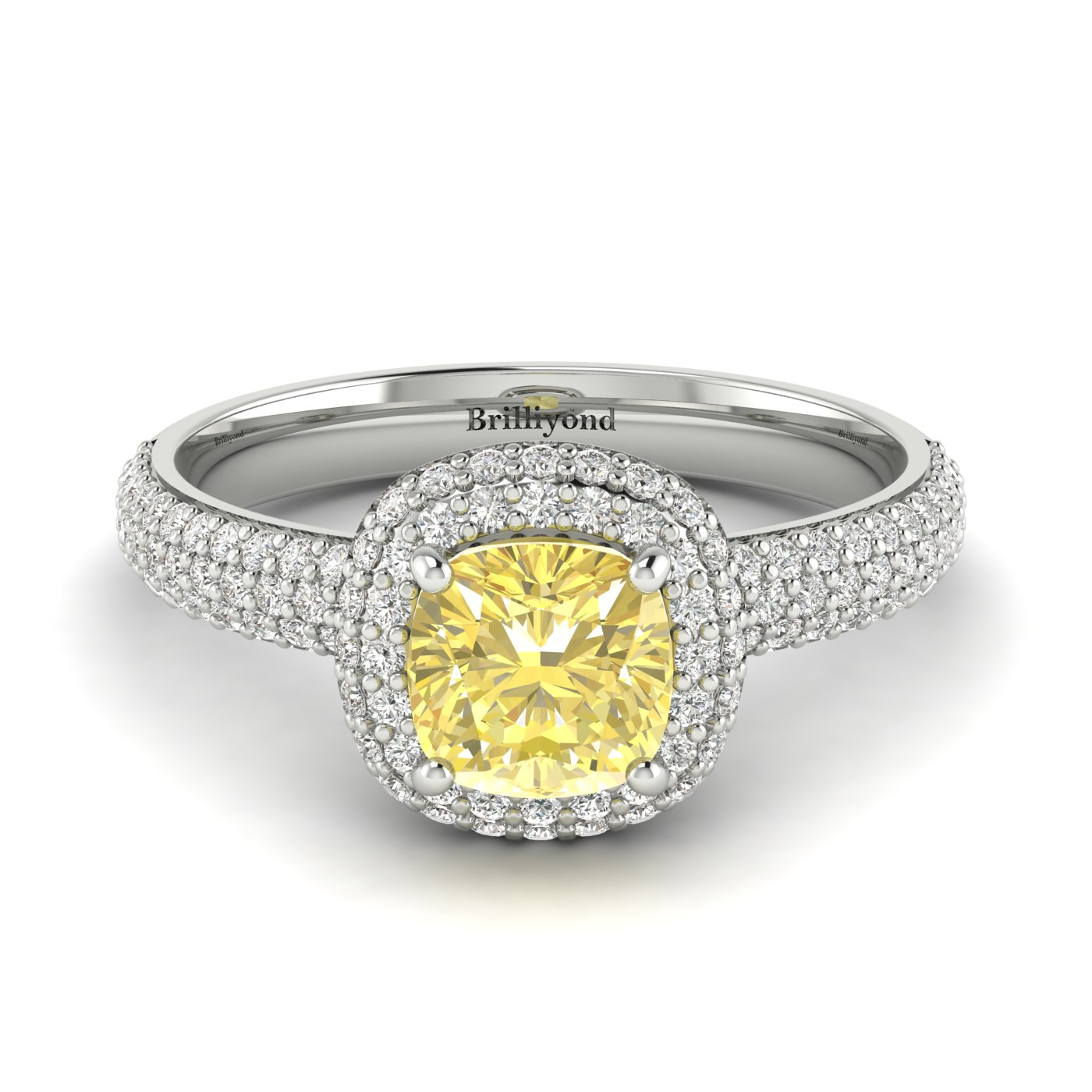 Yellow Sapphire White Gold Cushion Cut Engagement Ring Milky Way_image1