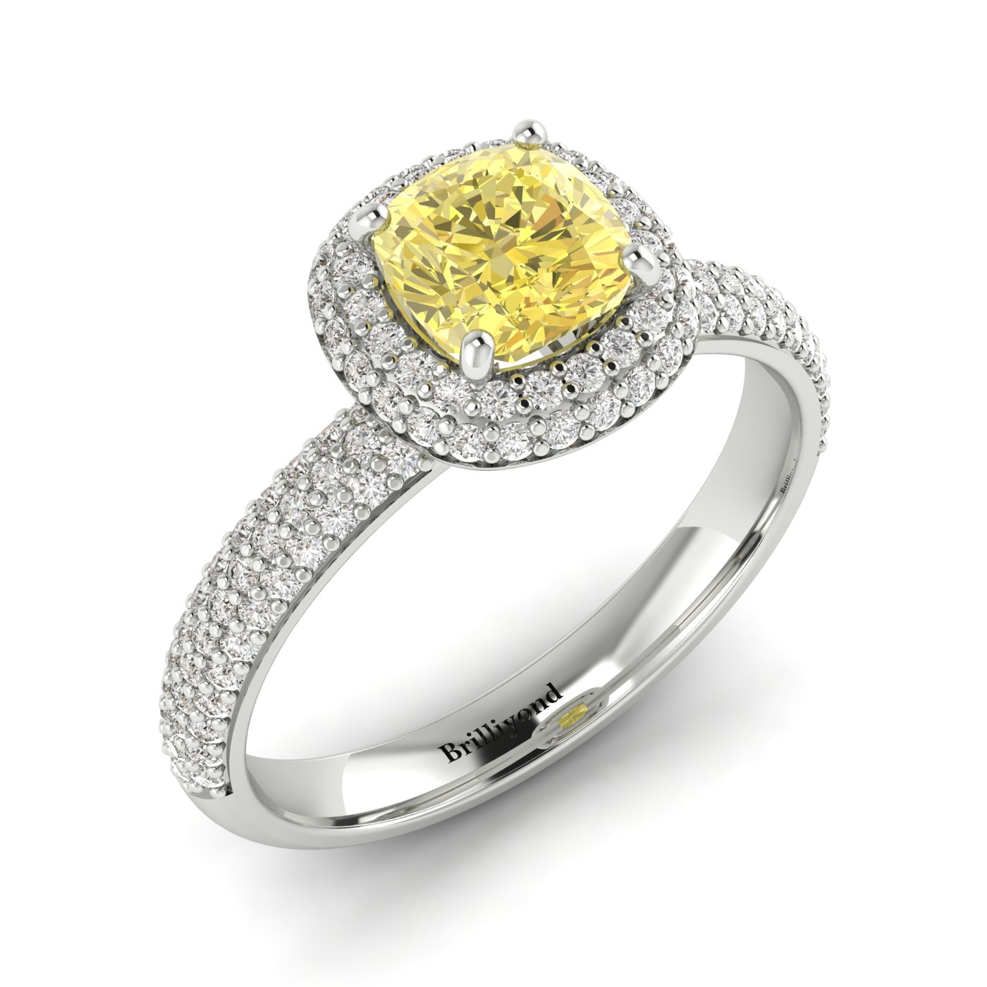 Yellow Sapphire White Gold Cushion Cut Engagement Ring Milky Way_image2