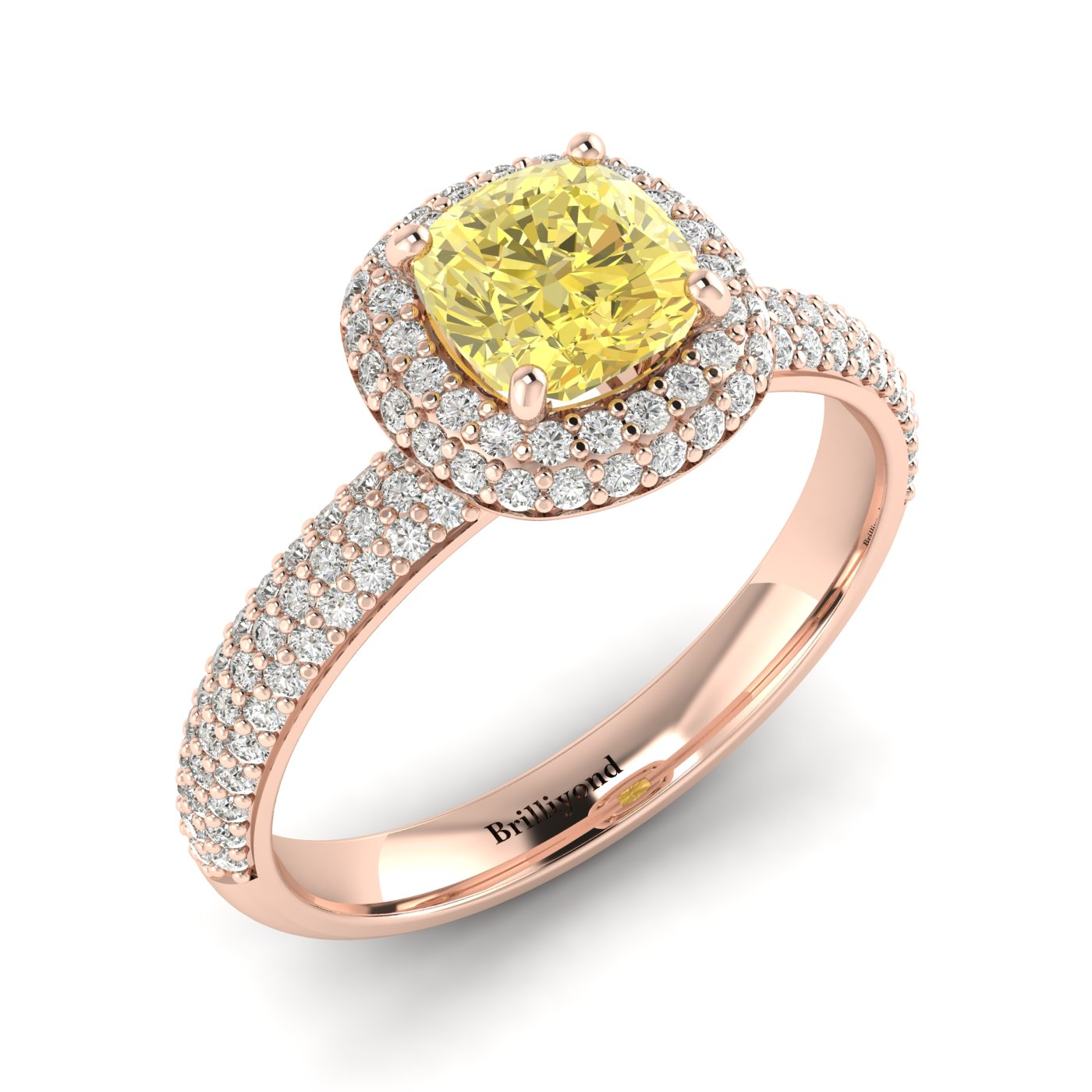 Yellow Sapphire Rose Gold Cushion Cut Engagement Ring Milky Way_image1
