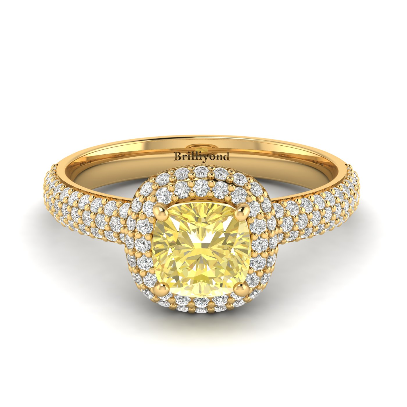 Yellow Sapphire Yellow Gold Cushion Cut Engagement Ring Milky Way_image1