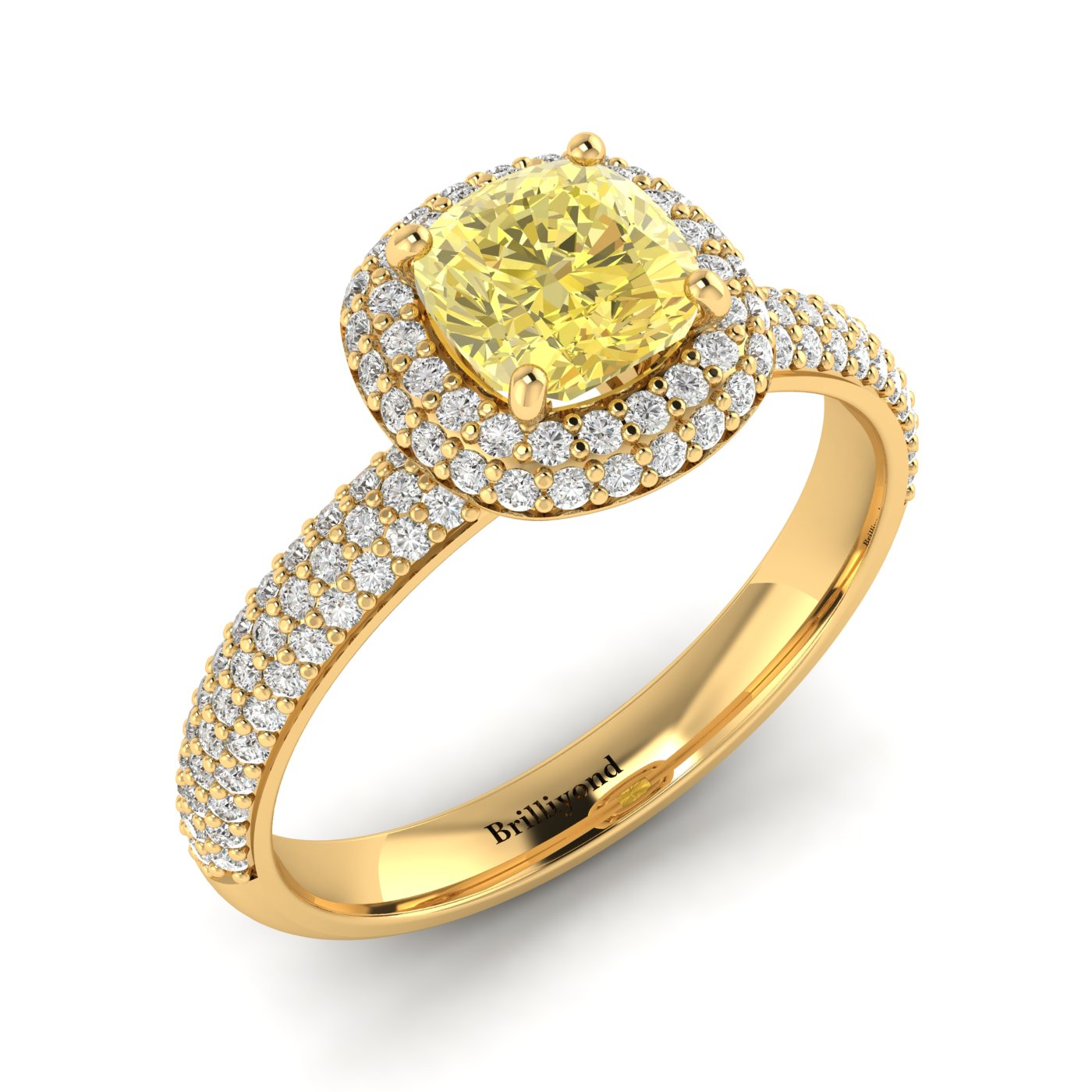 Yellow Sapphire Yellow Gold Cushion Cut Engagement Ring Milky Way_image2