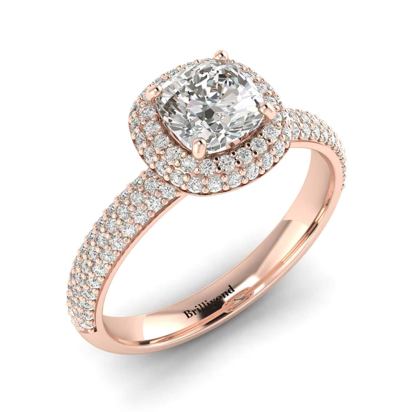 Diamond Rose Gold Cushion Cut Engagement Ring Milky Way_image2
