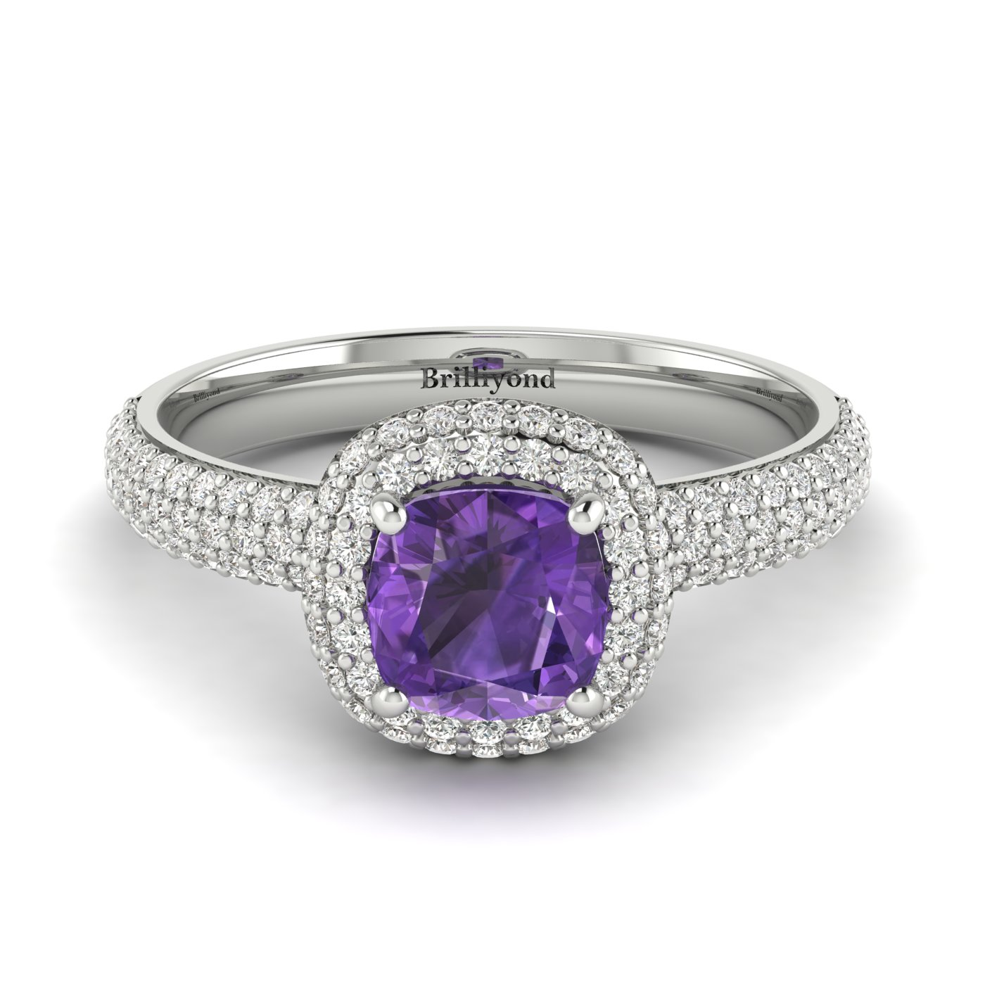 Amethyst White Gold Cushion Cut Engagement Ring Milky Way_image1