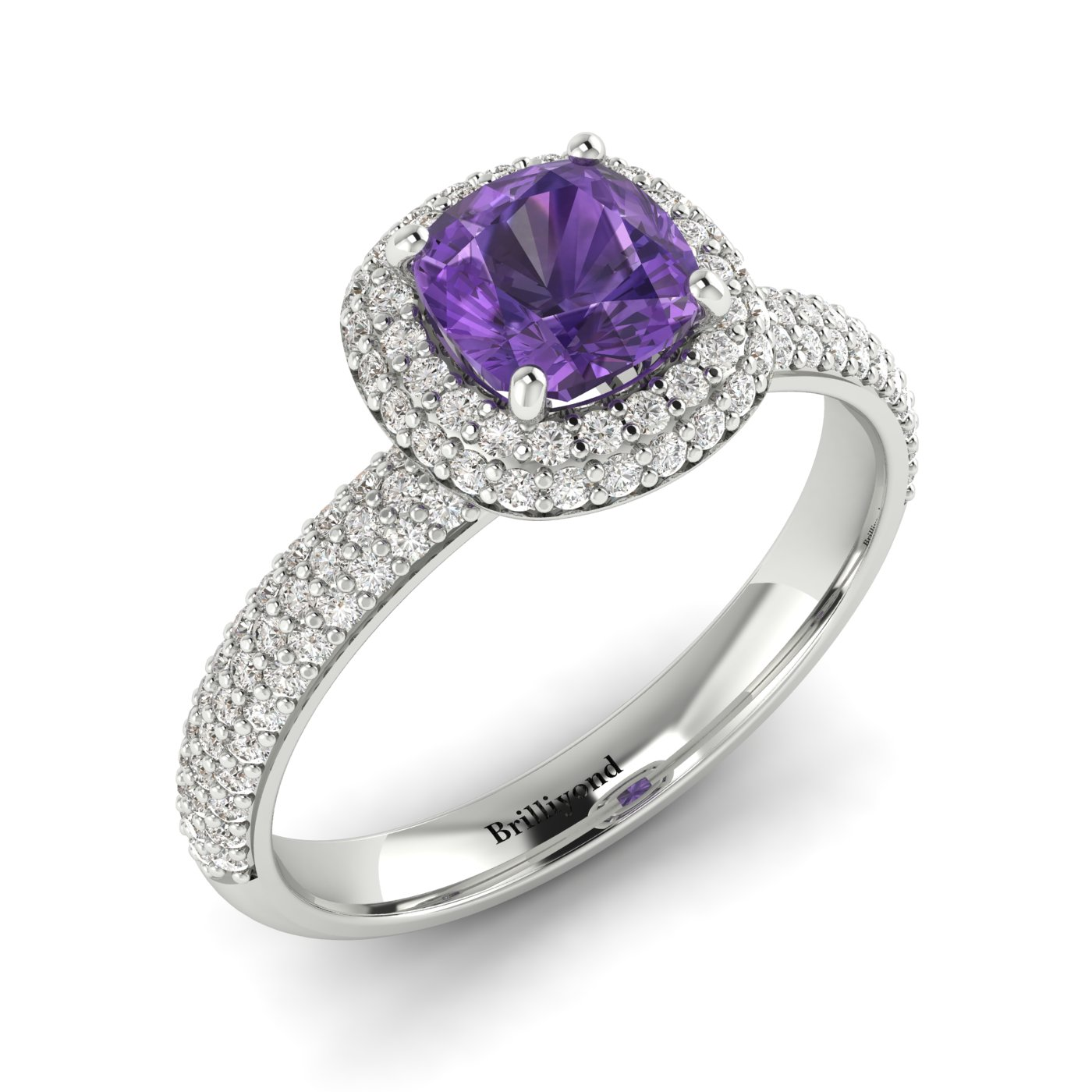 Amethyst White Gold Cushion Cut Engagement Ring Milky Way_image2