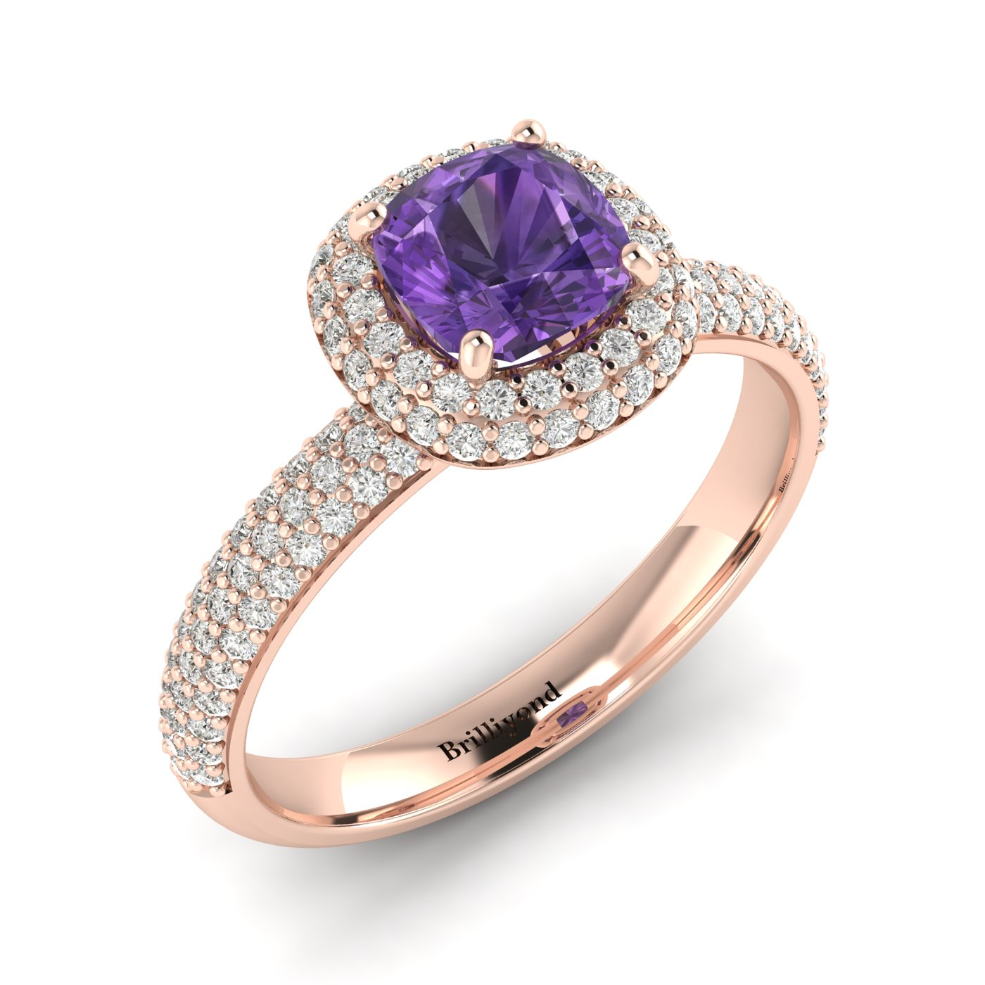 Amethyst Rose Gold Cushion Cut Engagement Ring Milky Way_image1