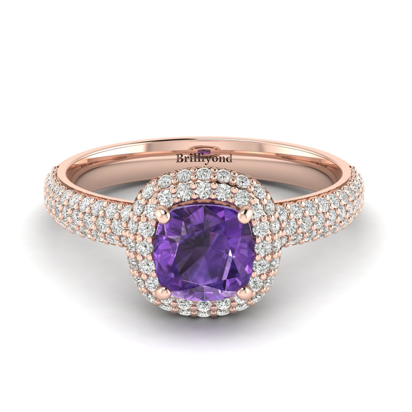 Amethyst Rose Gold Cushion Cut Engagement Ring Milky Way_image2