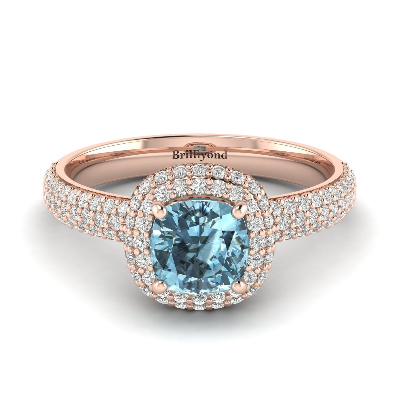 Aquamarine Rose Gold Cushion Cut Engagement Ring Milky Way