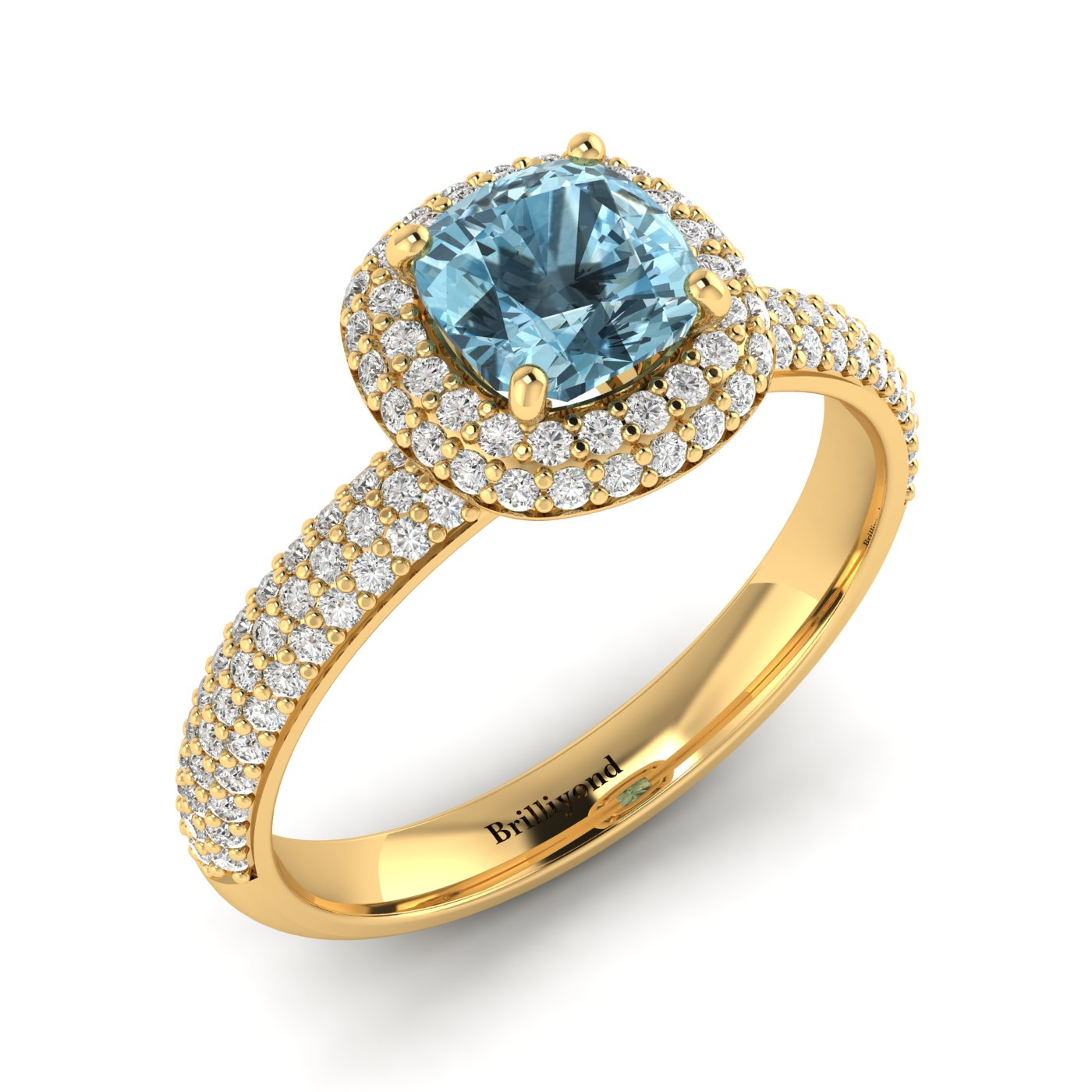 Aquamarine Yellow Gold Cushion Cut Engagement Ring Milky Way_image1