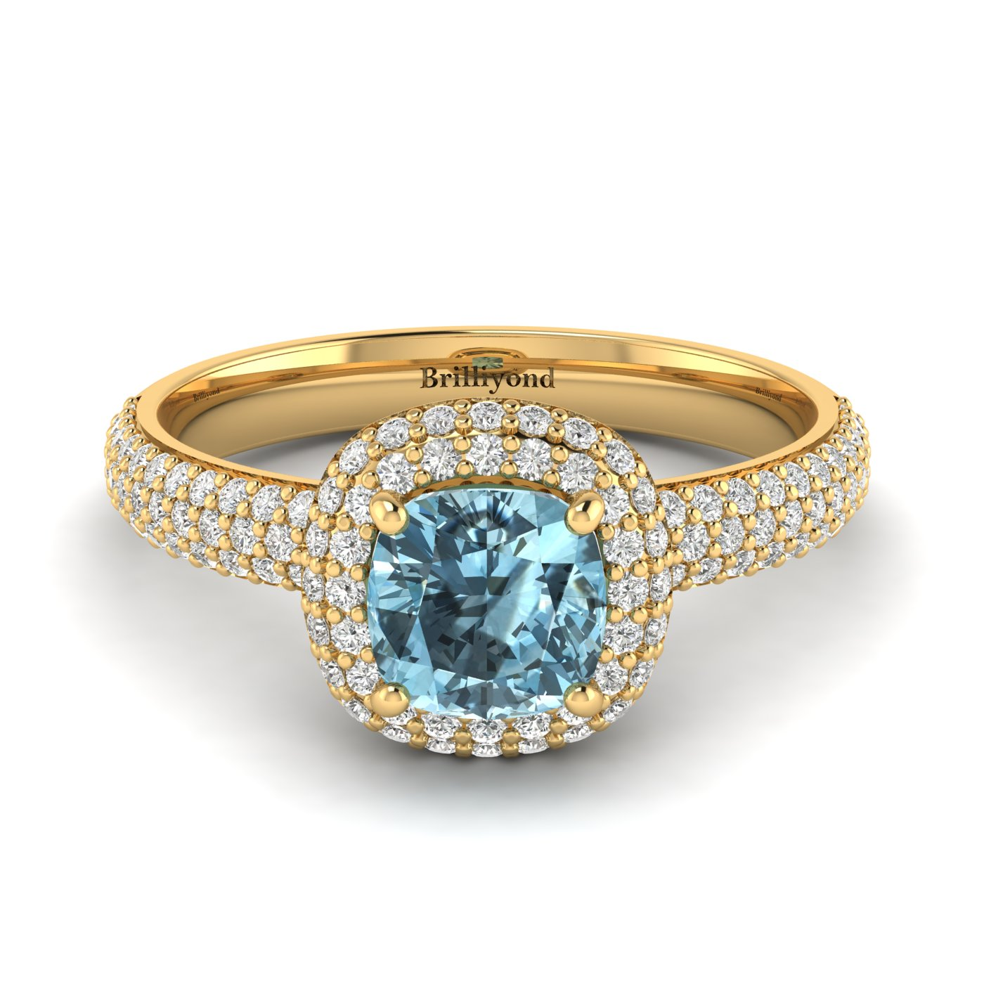 Aquamarine Yellow Gold Cushion Cut Engagement Ring Milky Way_image2