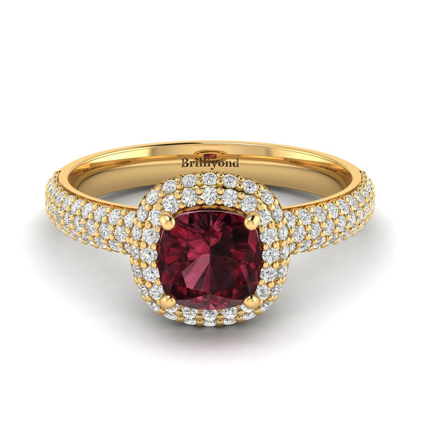 Garnet Yellow Gold Cushion Cut Engagement Ring Milky Way_image1