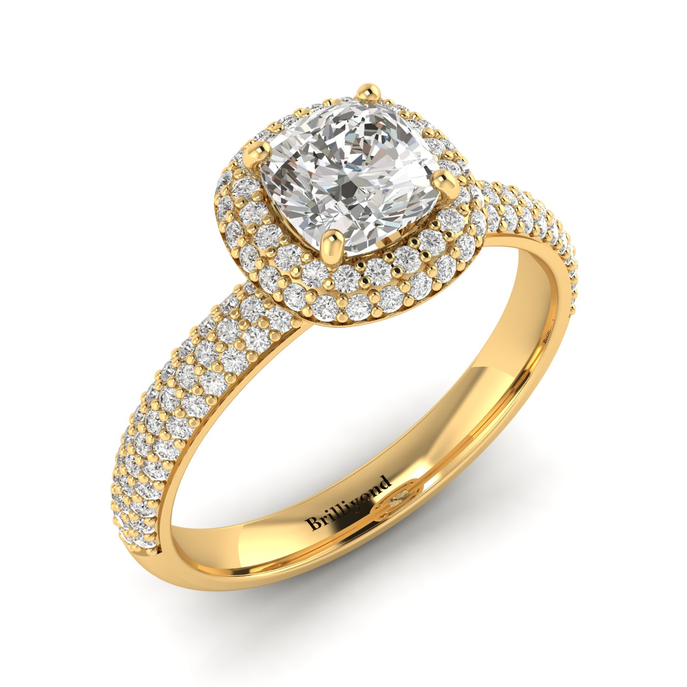 White Sapphire Yellow Gold Cushion Cut Engagement Ring Milky Way_image1