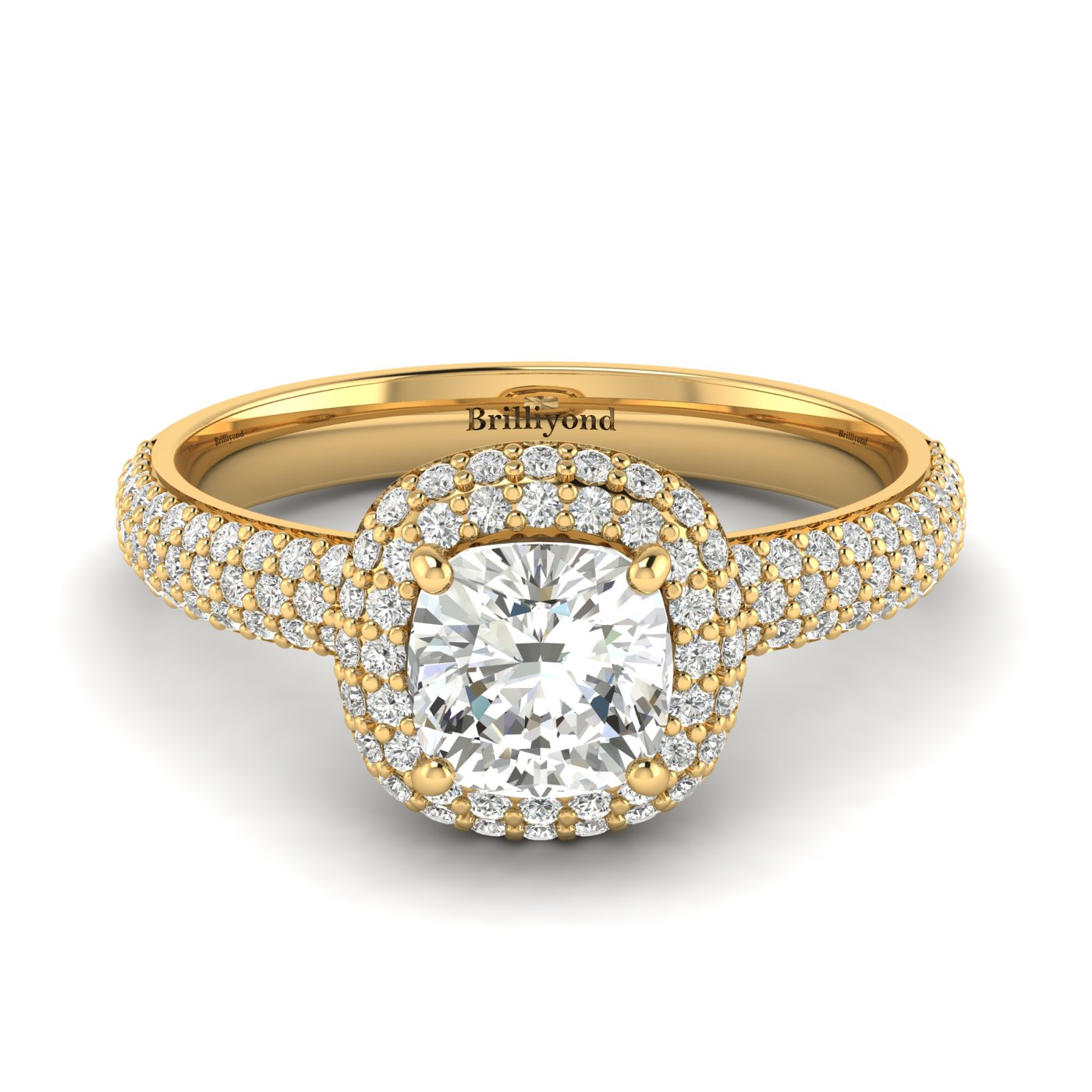 White Sapphire Yellow Gold Cushion Cut Engagement Ring Milky Way_image2