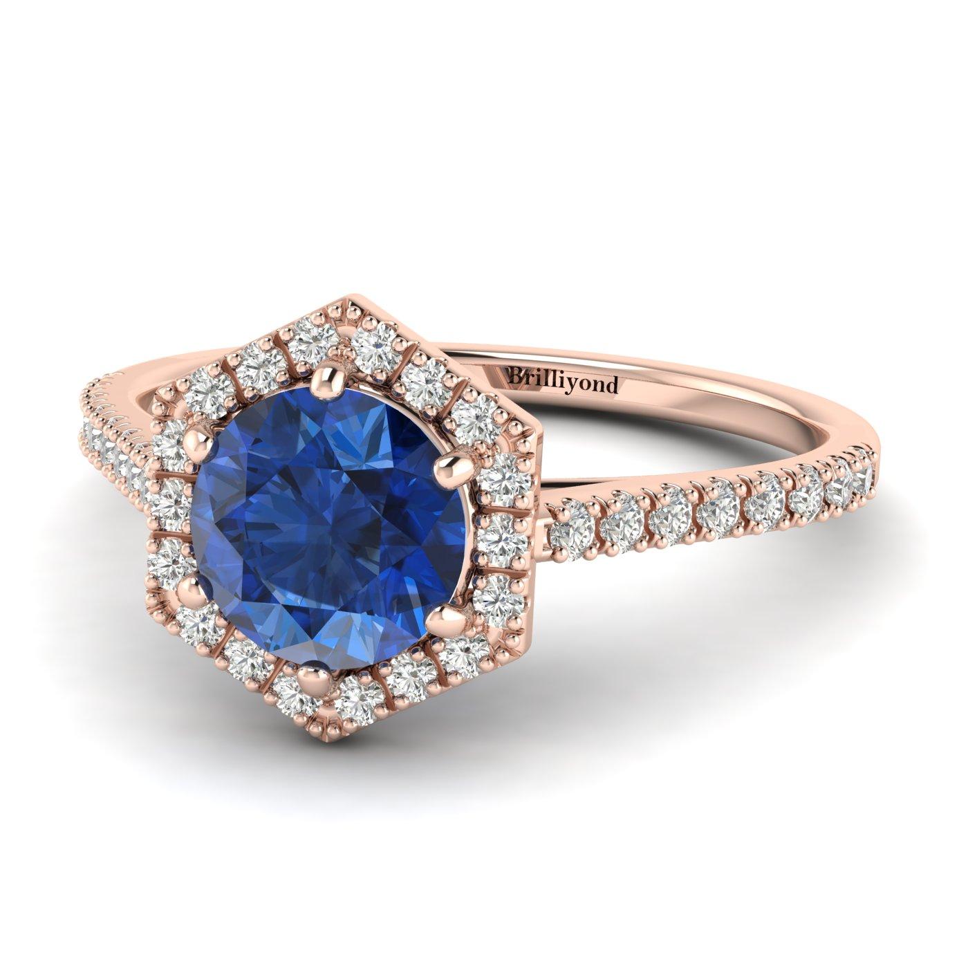 Blue Sapphire Rose Gold Halo Engagement Ring Niagara