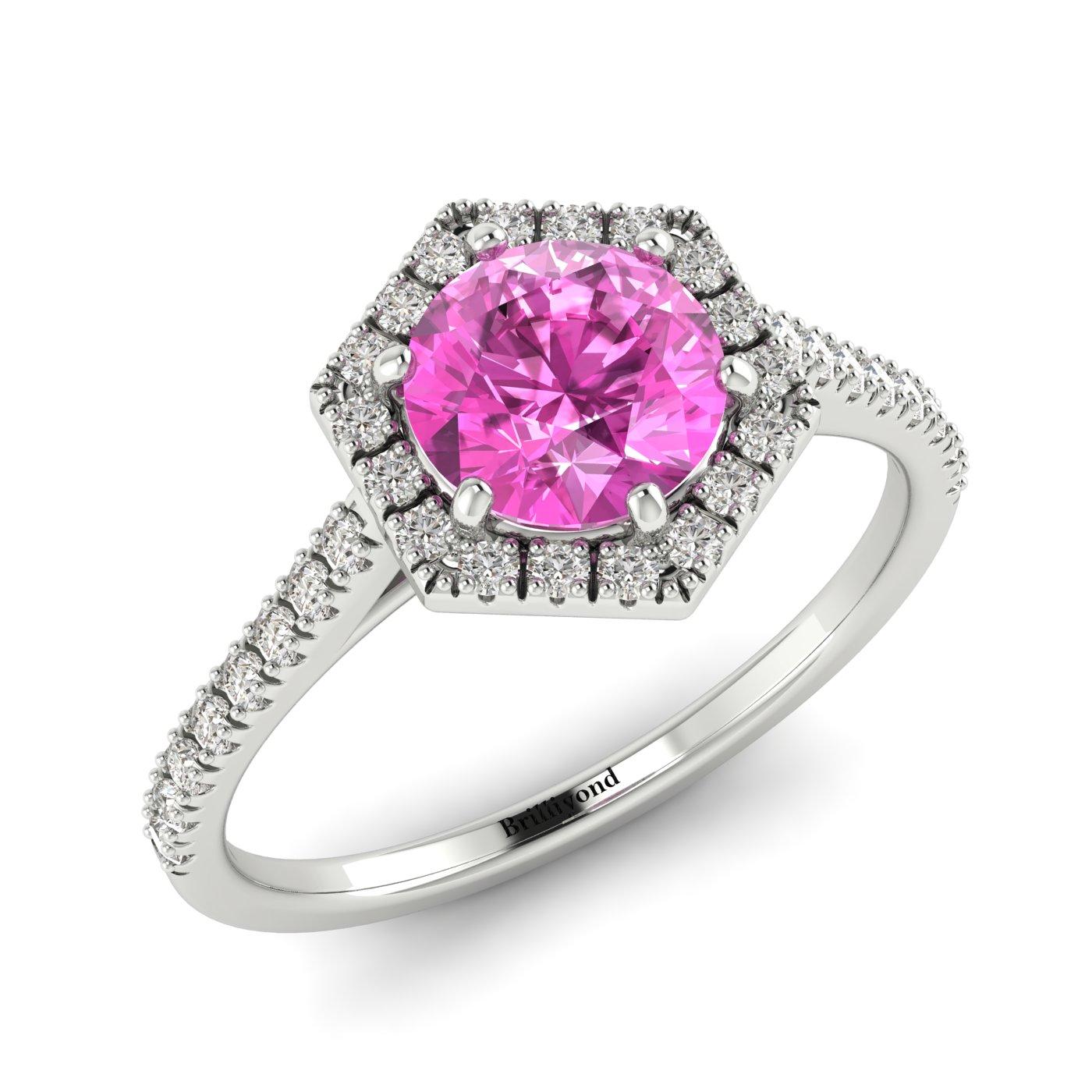 Pink Sapphire White Gold Halo Engagement Ring Niagara_image1