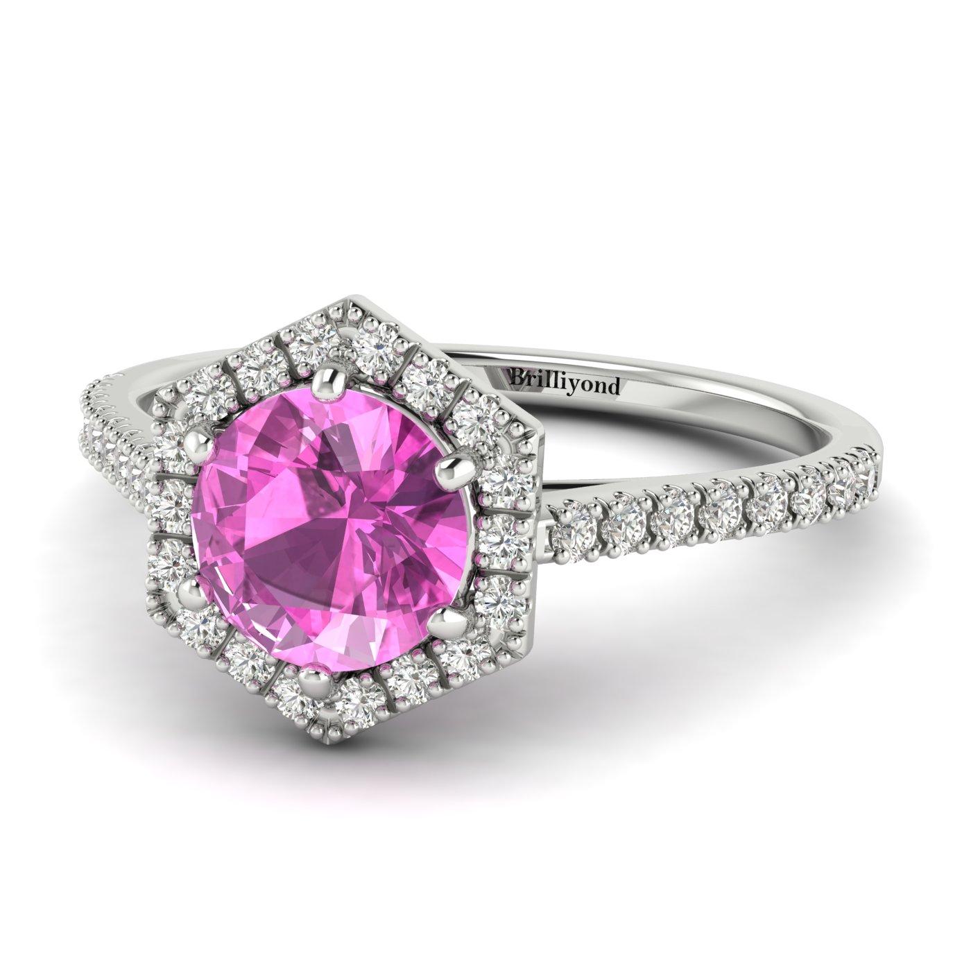 Pink Sapphire White Gold Halo Engagement Ring Niagara_image2