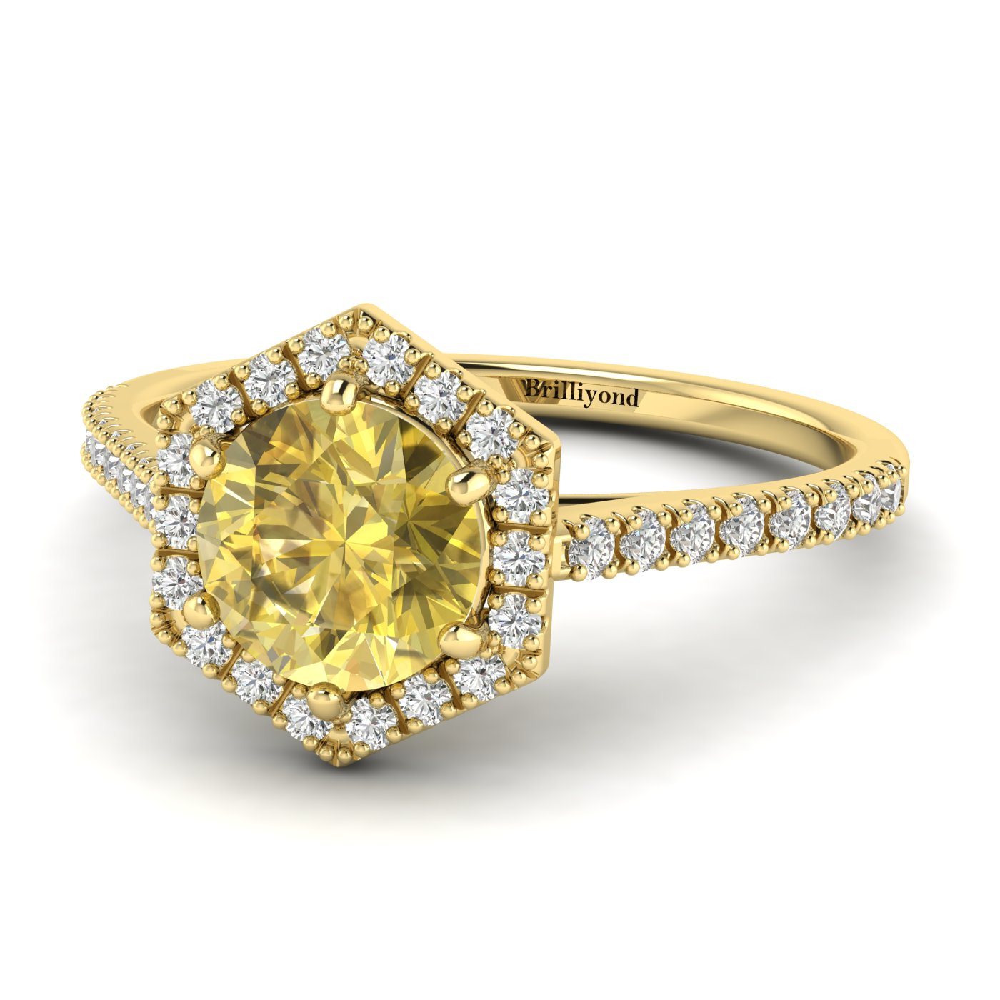 Yellow Sapphire Yellow Gold Halo Engagement Ring Niagara_image1