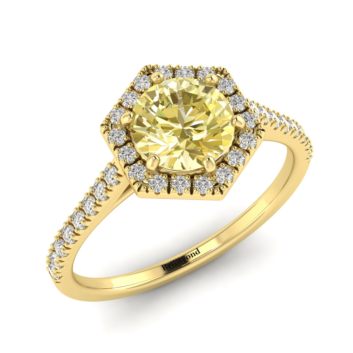 Yellow Sapphire Yellow Gold Halo Engagement Ring Niagara_image2
