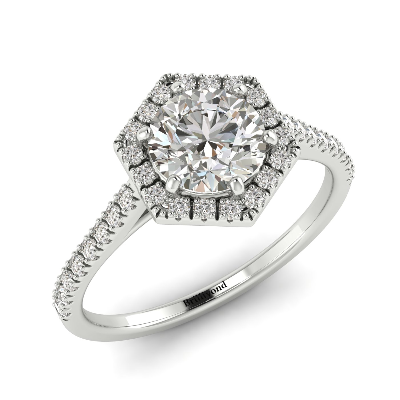 Diamond White Gold Halo Engagement Ring Niagara_image1