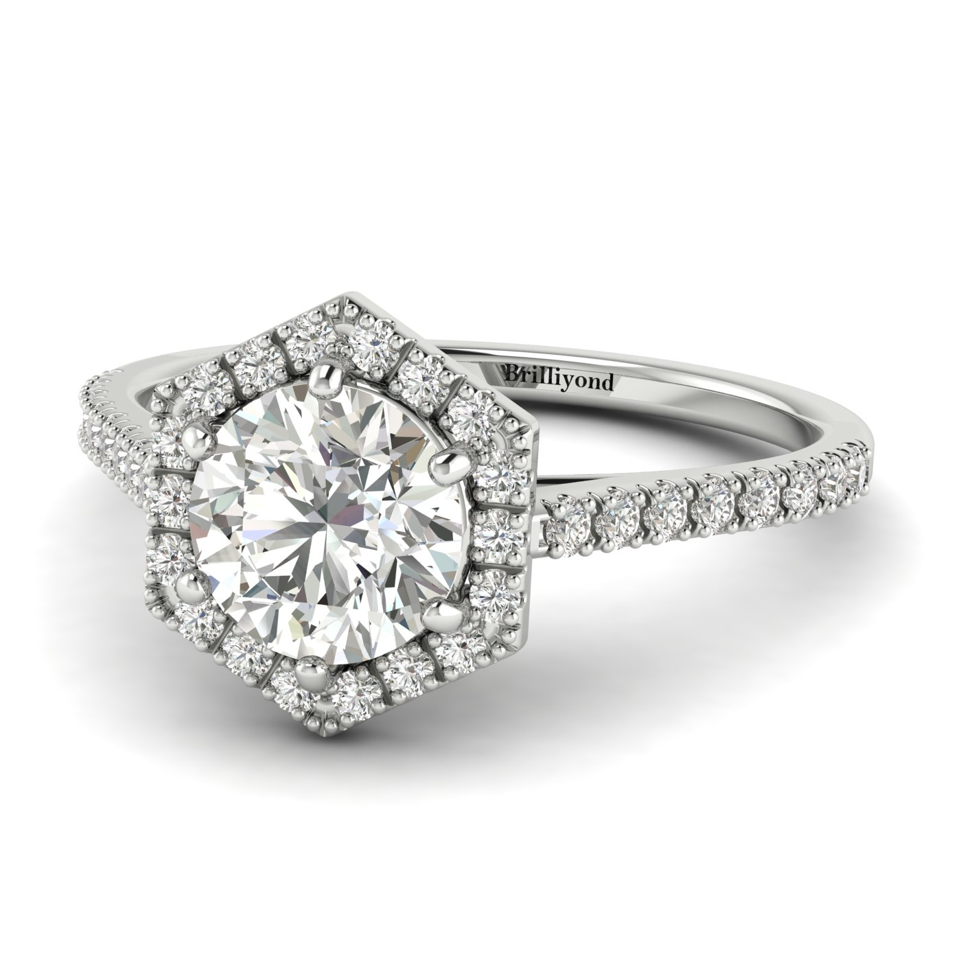 Diamond White Gold Halo Engagement Ring Niagara_image2