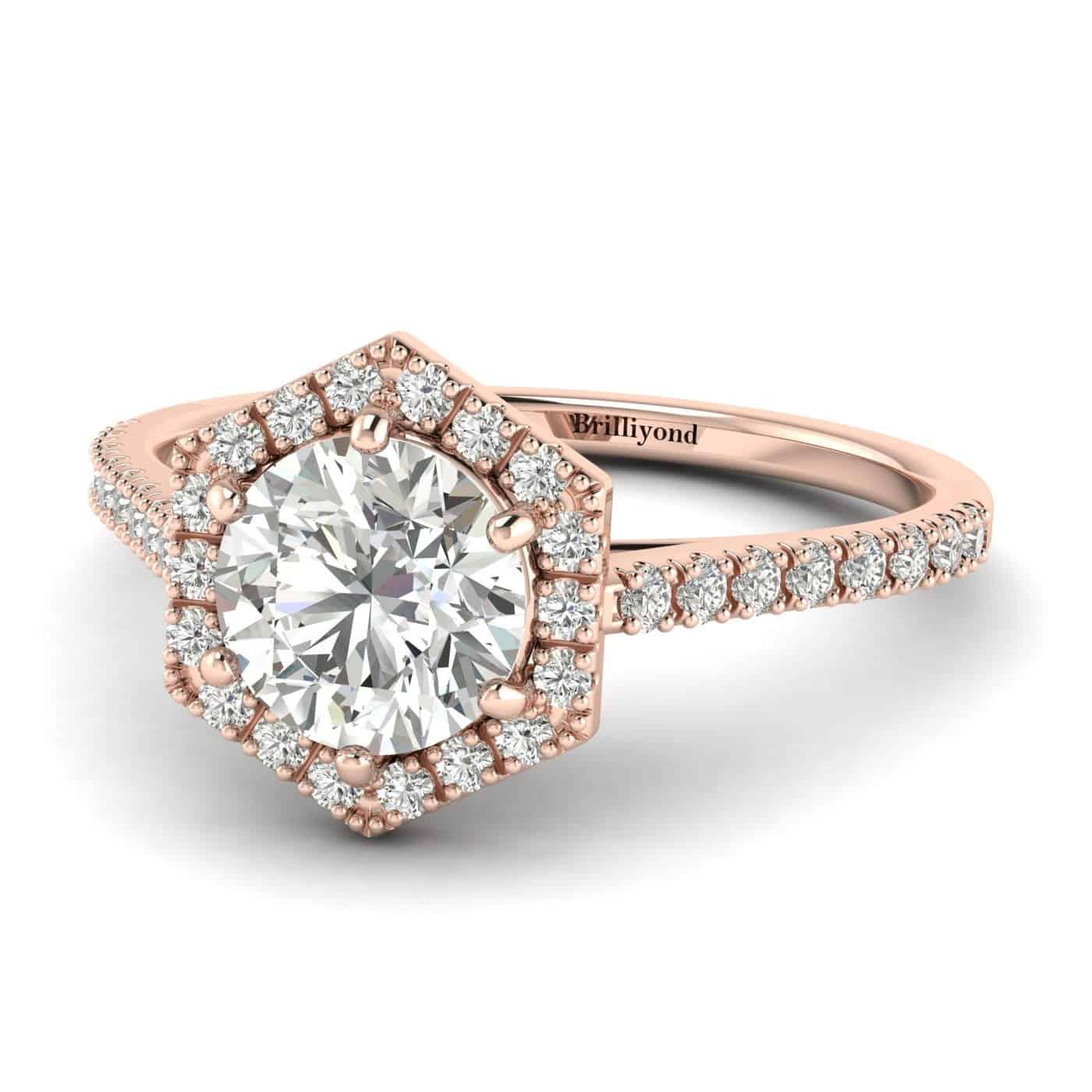 Diamond Rose Gold Halo Engagement Ring Niagara_image1