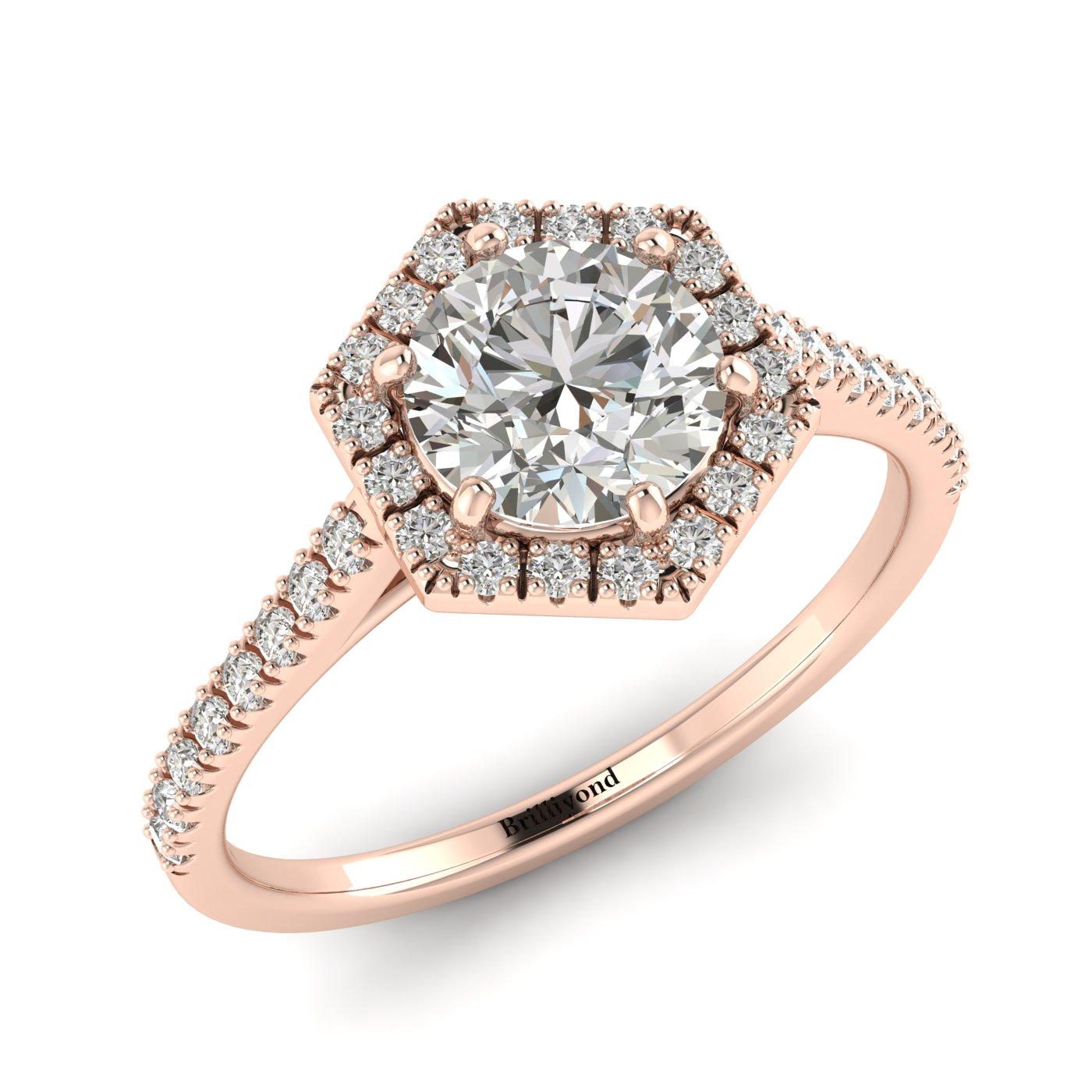 Diamond Rose Gold Halo Engagement Ring Niagara_image2