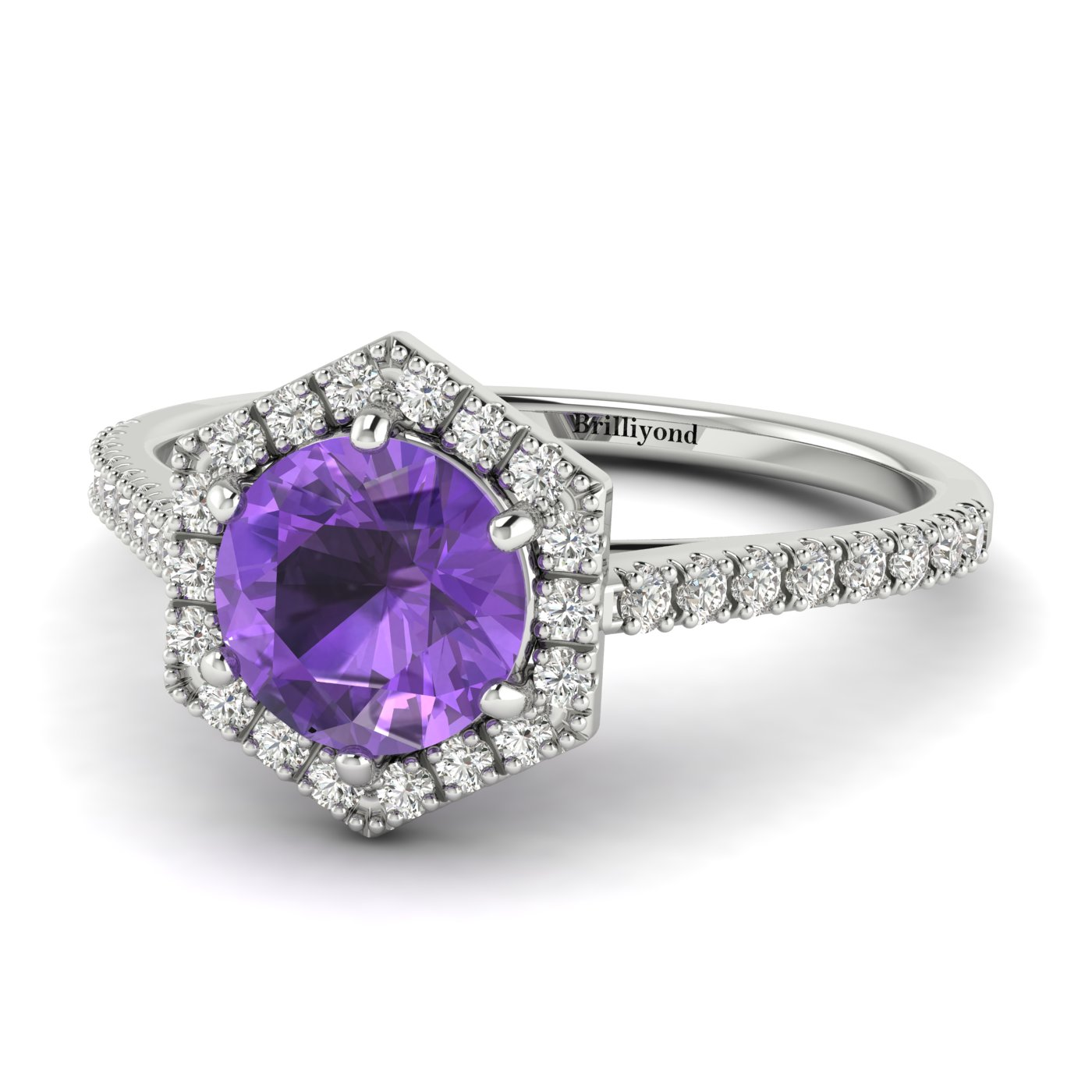 Amethyst White Gold Halo Engagement Ring Niagara_image1