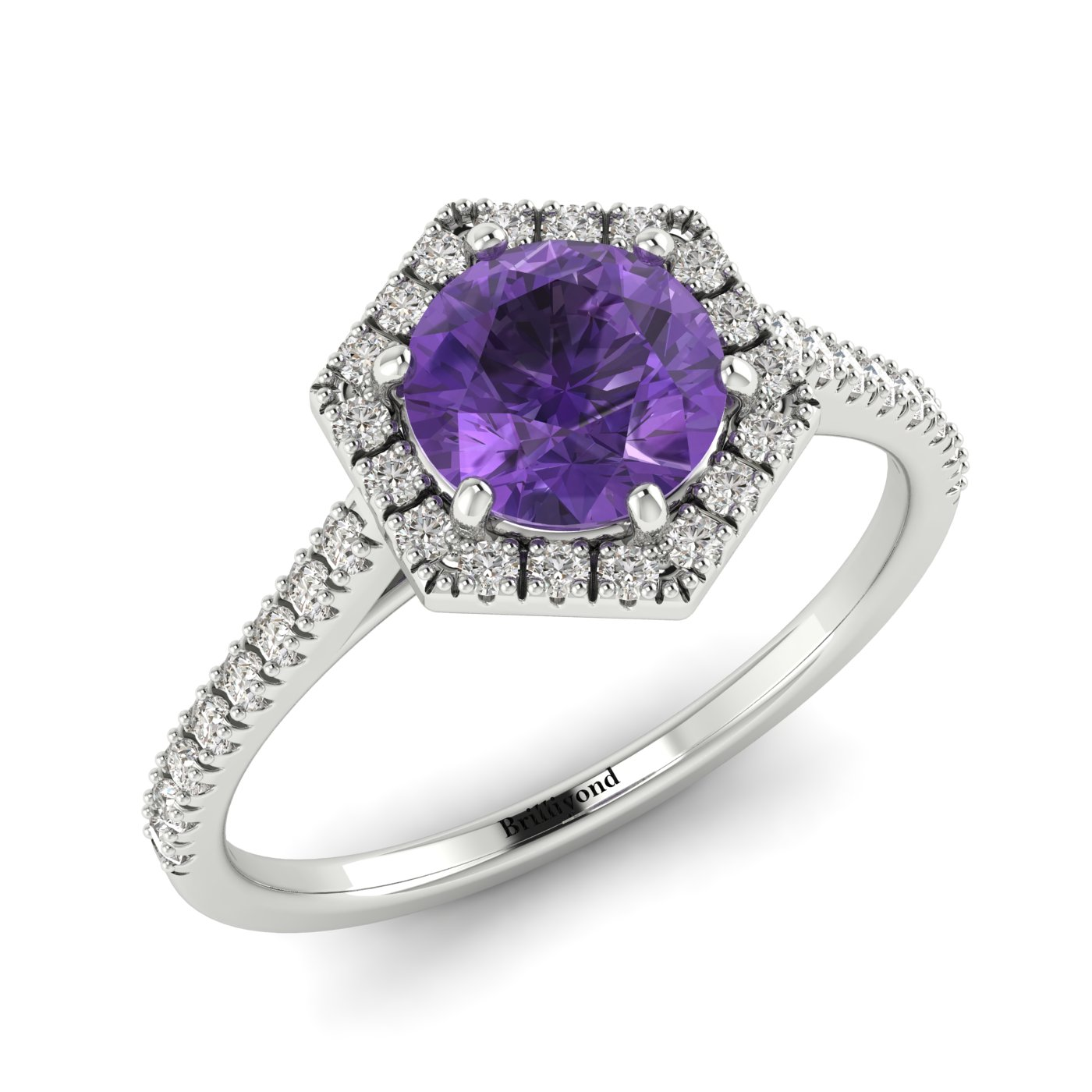 Amethyst White Gold Halo Engagement Ring Niagara_image2