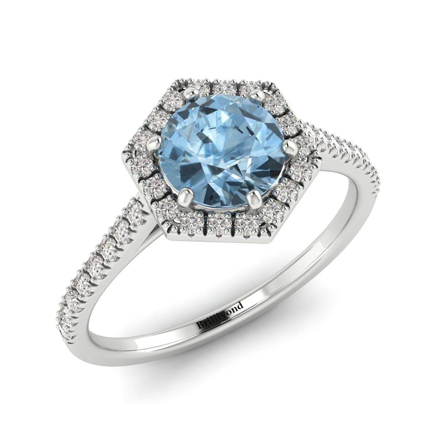 Aquamarine White Gold Halo Engagement Ring Niagara_image1
