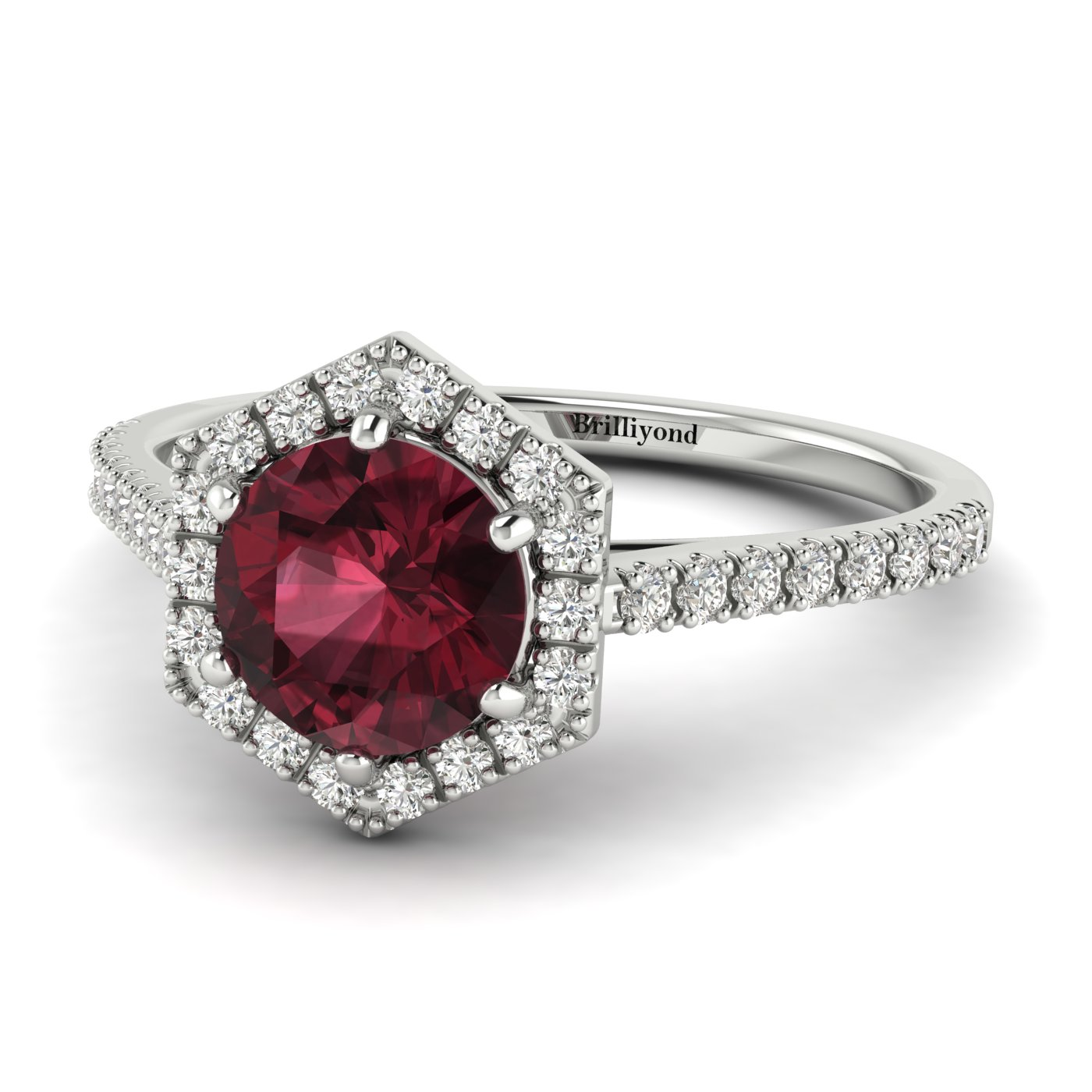 Garnet White Gold Halo Engagement Ring Niagara_image1