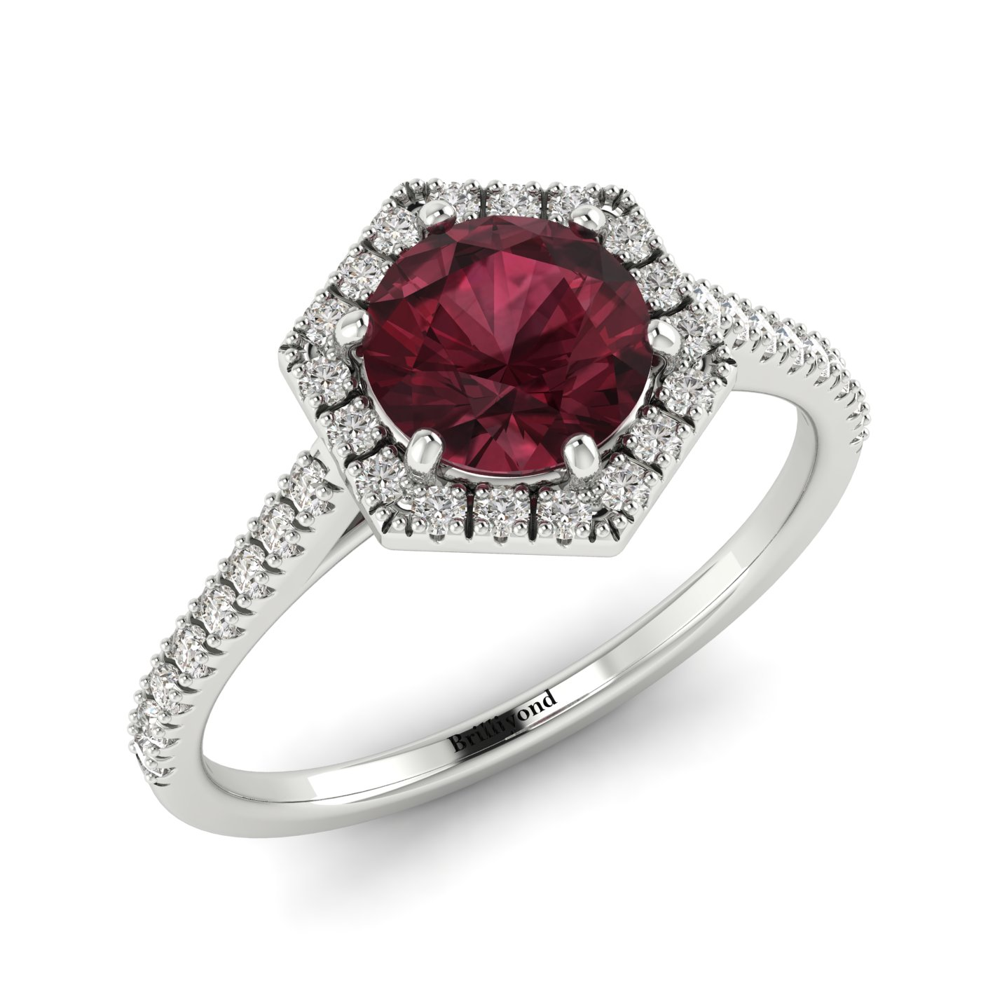 Garnet White Gold Halo Engagement Ring Niagara_image2