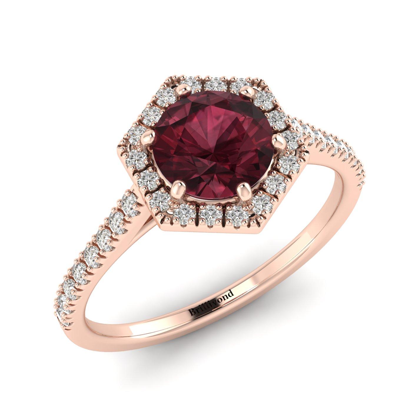 Garnet Ring Rose Gold Halo Niagara_image1