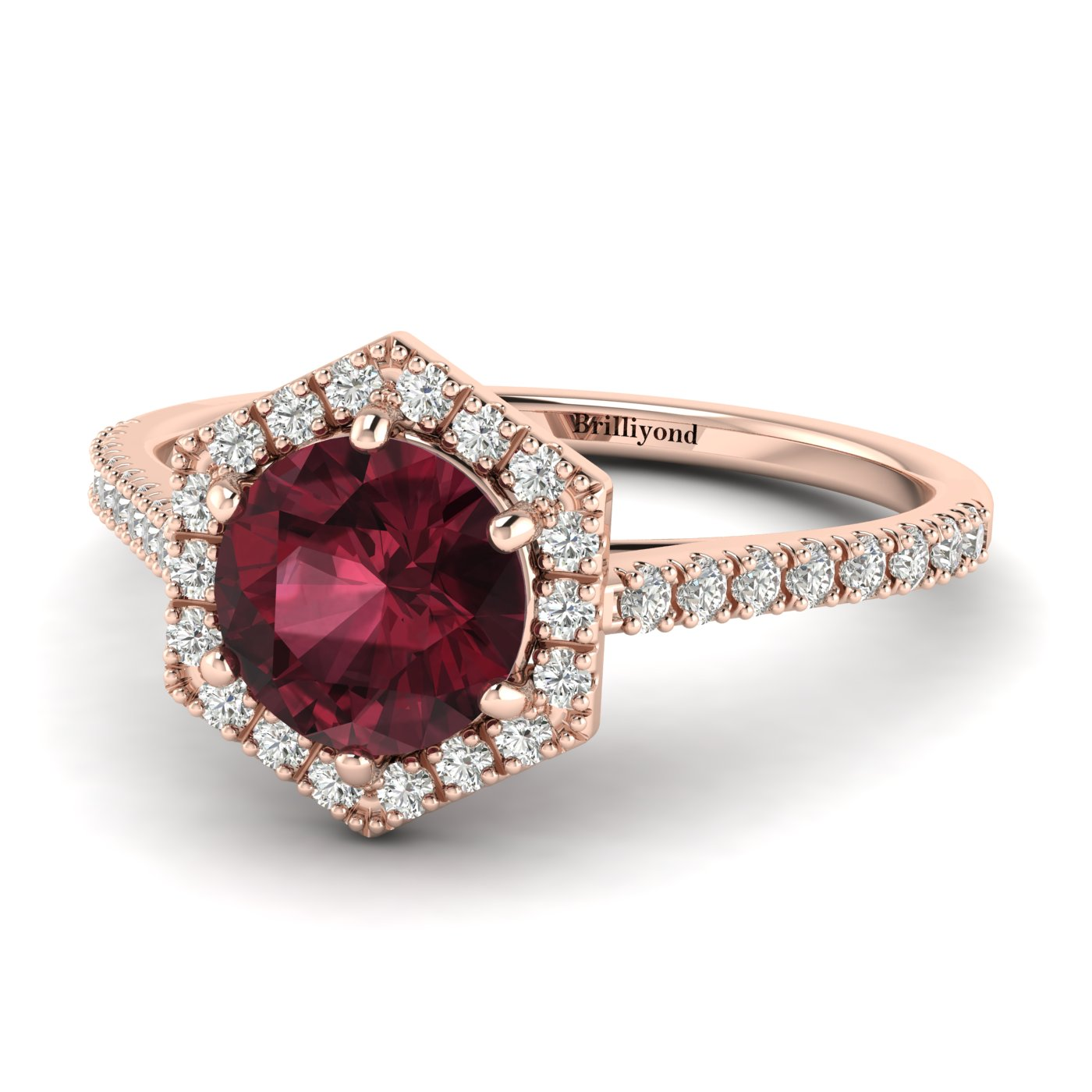 Garnet Rose Gold Halo Engagement Ring Niagara_image2