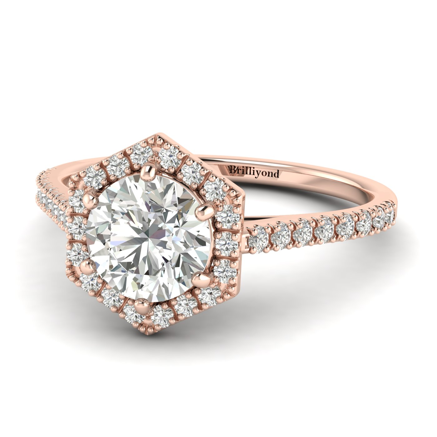 White Sapphire Rose Gold Halo Engagement Ring Niagara_image1