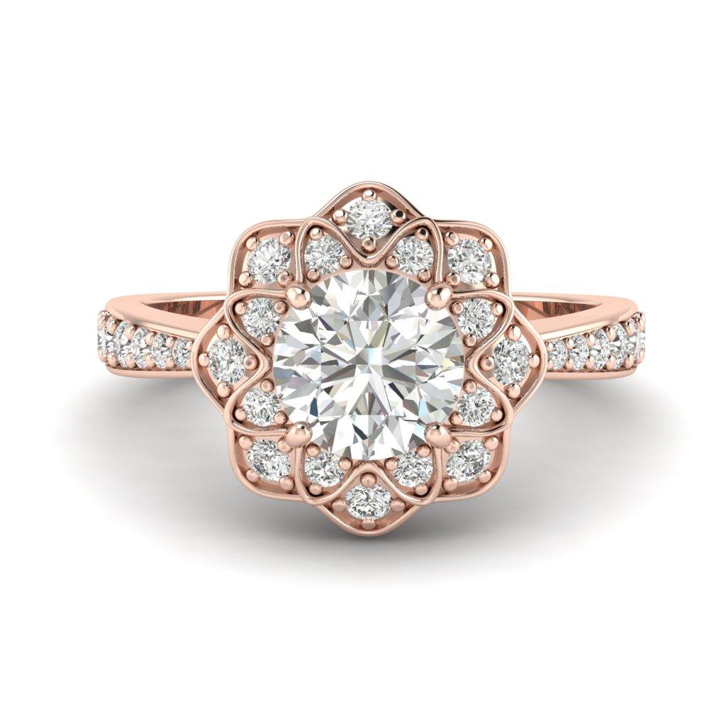 Diamond Rose Gold Floral Halo Engagement Ring Santorini_image2