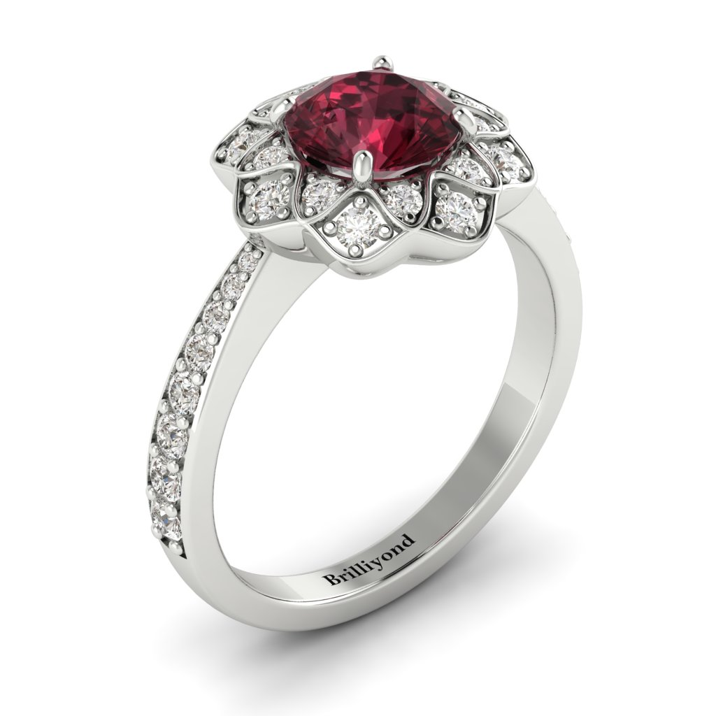 Garnet White Gold Floral Halo Engagement Ring Santorini_image1