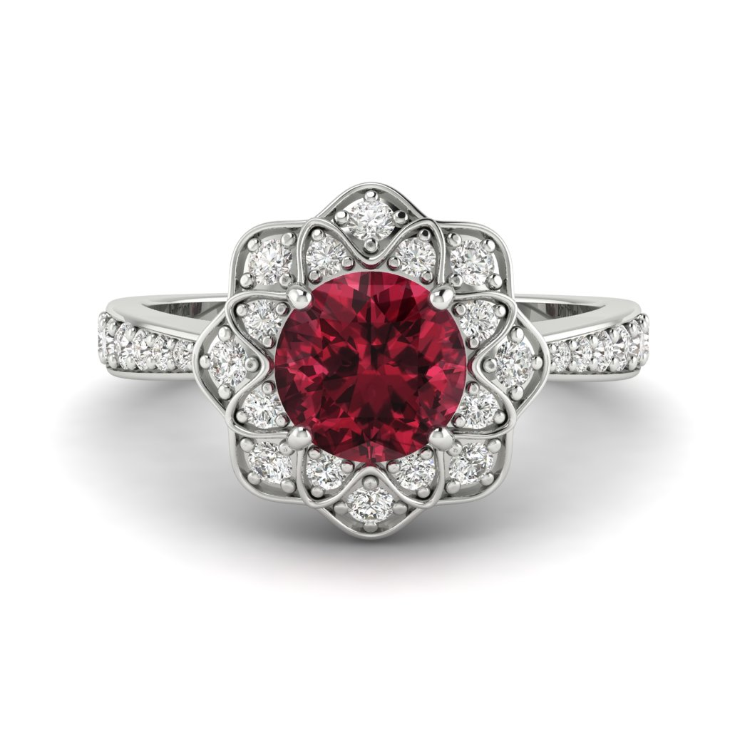 Garnet White Gold Floral Halo Engagement Ring Santorini_image2