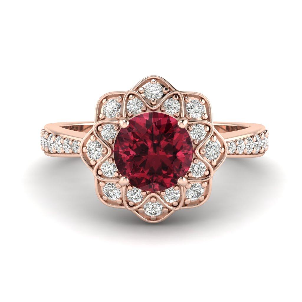 Garnet Rose Gold Floral Halo Engagement Ring Santorini_image1
