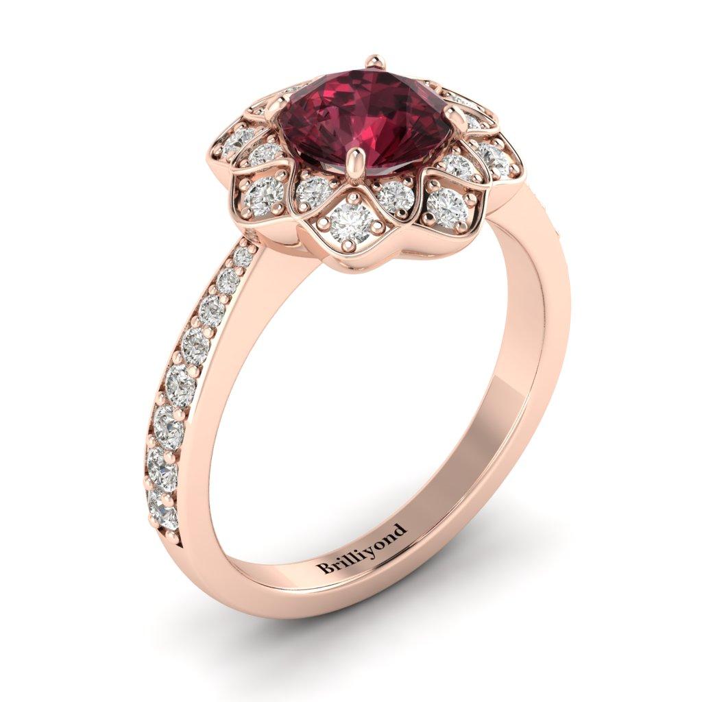Garnet Rose Gold Floral Halo Engagement Ring Santorini_image2