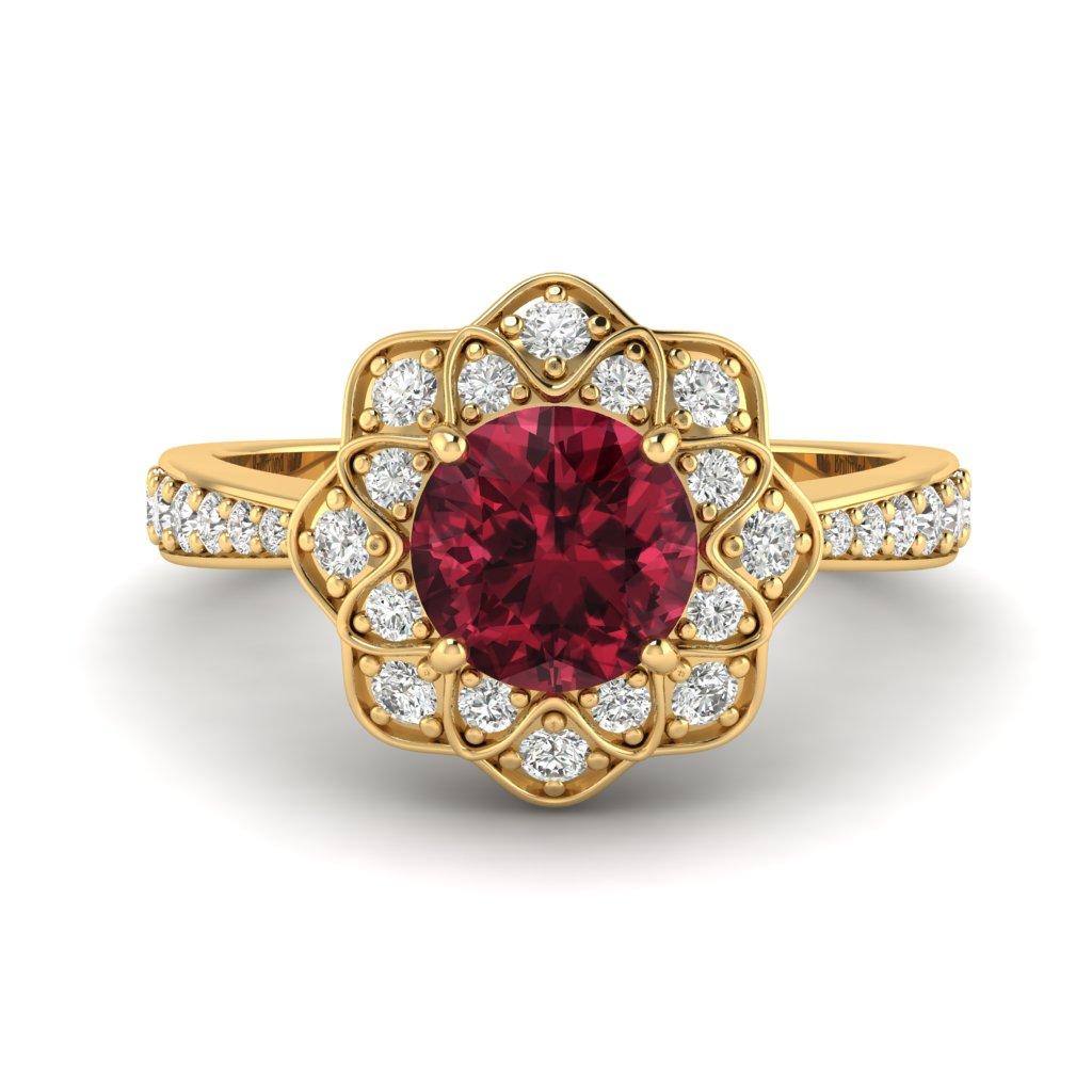 Garnet Yellow Gold Floral Halo Engagement Ring Santorini_image2