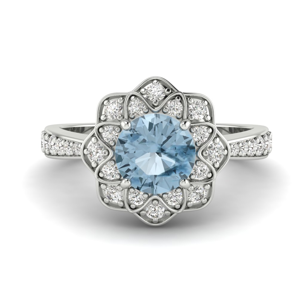 Aquamarine White Gold Floral Halo Engagement Ring Santorini_image1
