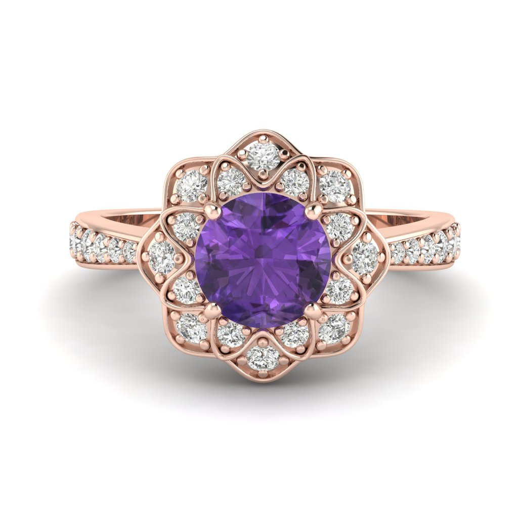Amethyst Rose Gold Floral Halo Engagement Ring Santorini_image1