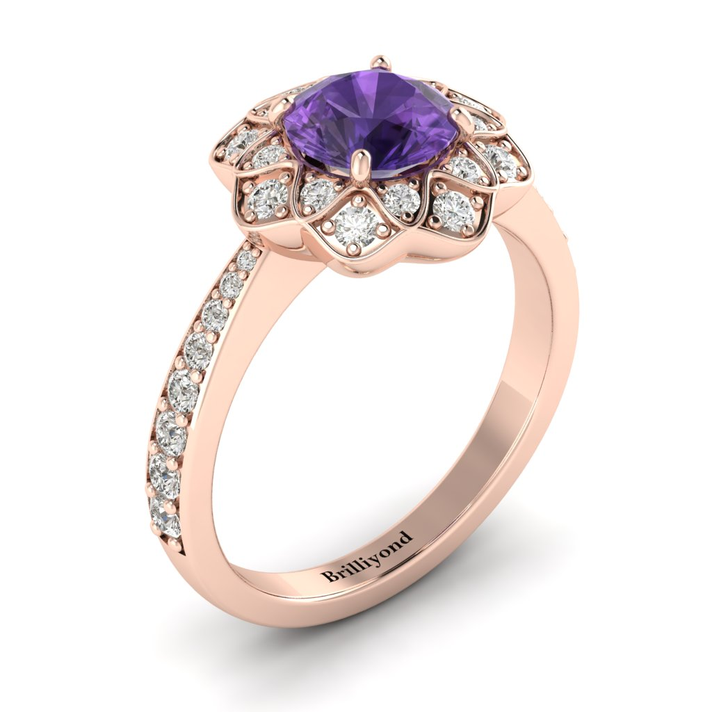 Amethyst Rose Gold Floral Halo Engagement Ring Santorini_image2