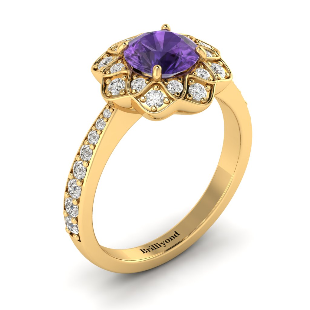 Amethyst Yellow Gold Floral Halo Engagement Ring Santorini_image1