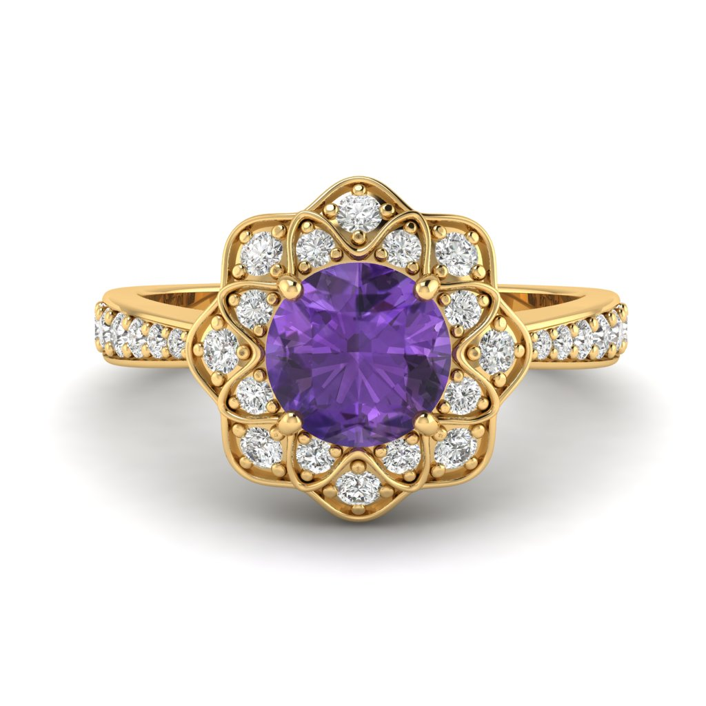 Amethyst Yellow Gold Floral Halo Engagement Ring Santorini_image2