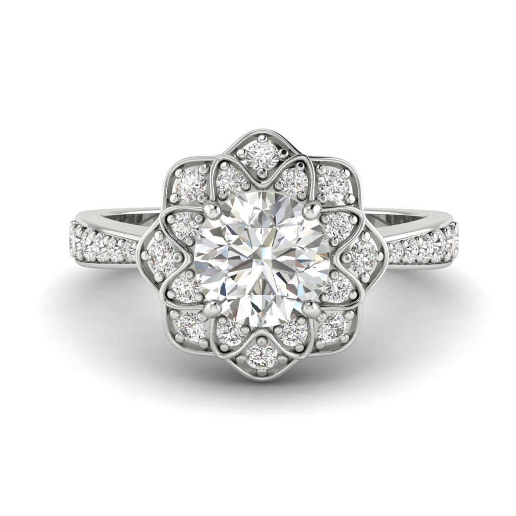 White Sapphire White Gold Floral Halo Engagement Ring Santorini_image1
