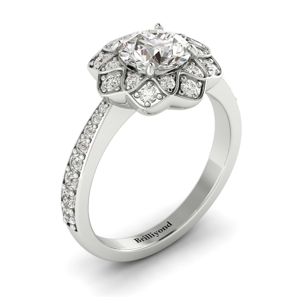 White Sapphire White Gold Floral Halo Engagement Ring Santorini_image2